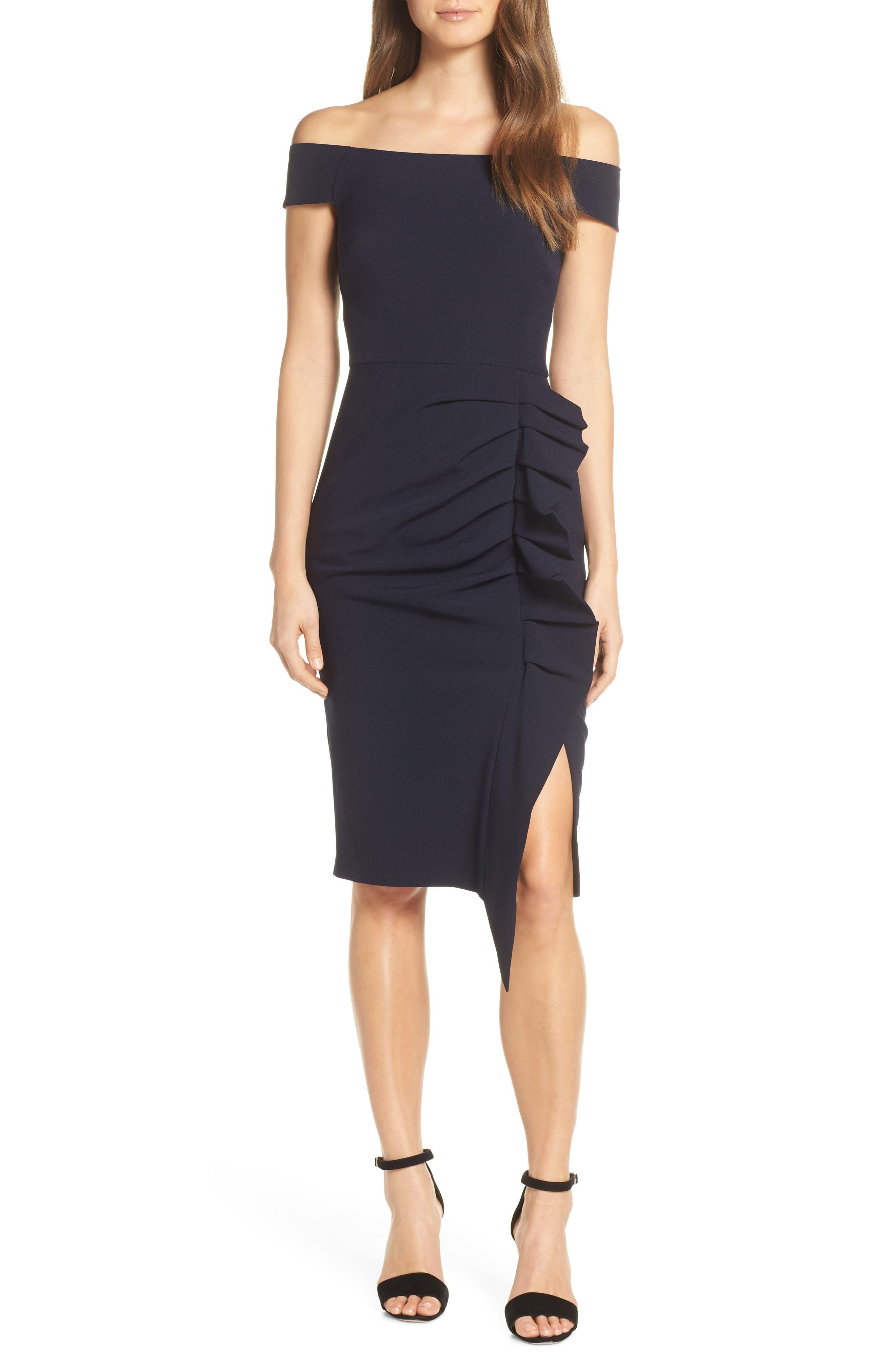 Eliza J Off The Shoulder Ruched Dress, Blue