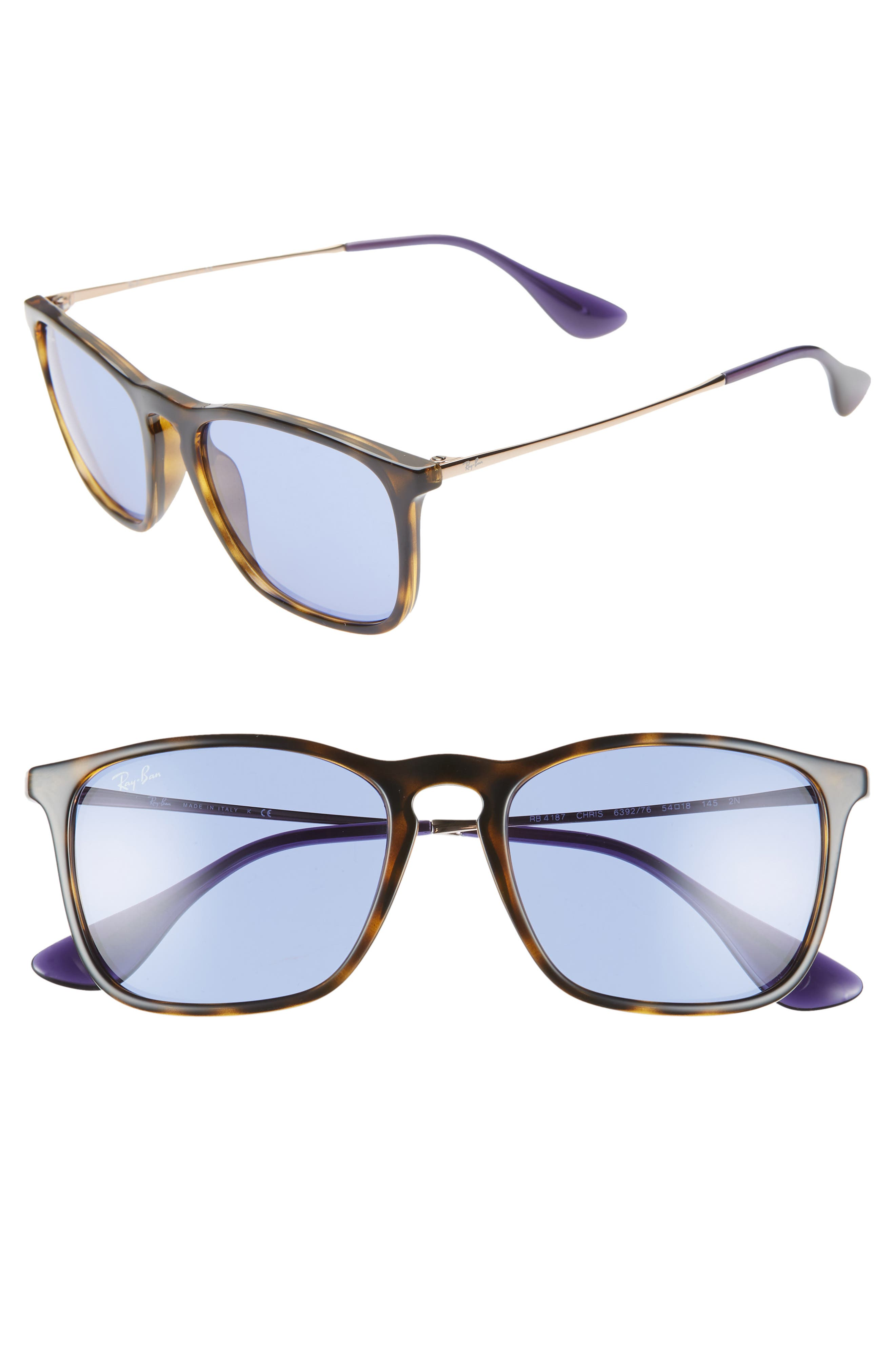 Ray-Ban Youngster 5m Square Keyhole Sunglasses - Havana/ Gold/ Blue Solid