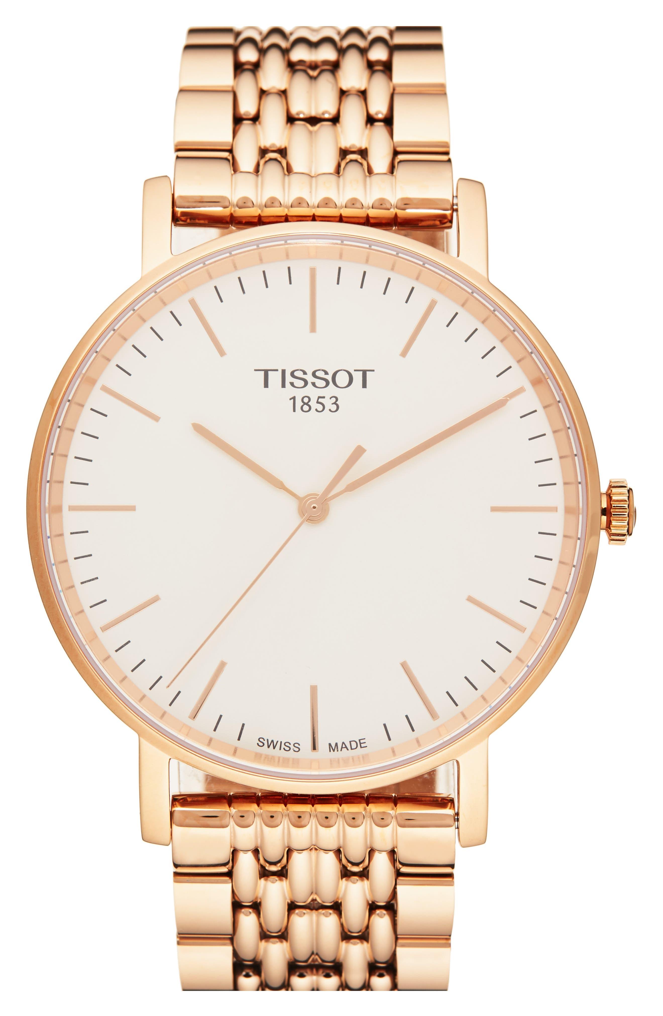 Everytime Medium Bracelet Watch, 38mm,                         Main,                         color, ROSE GOLD/ SILVER/ ROSE GOLD
