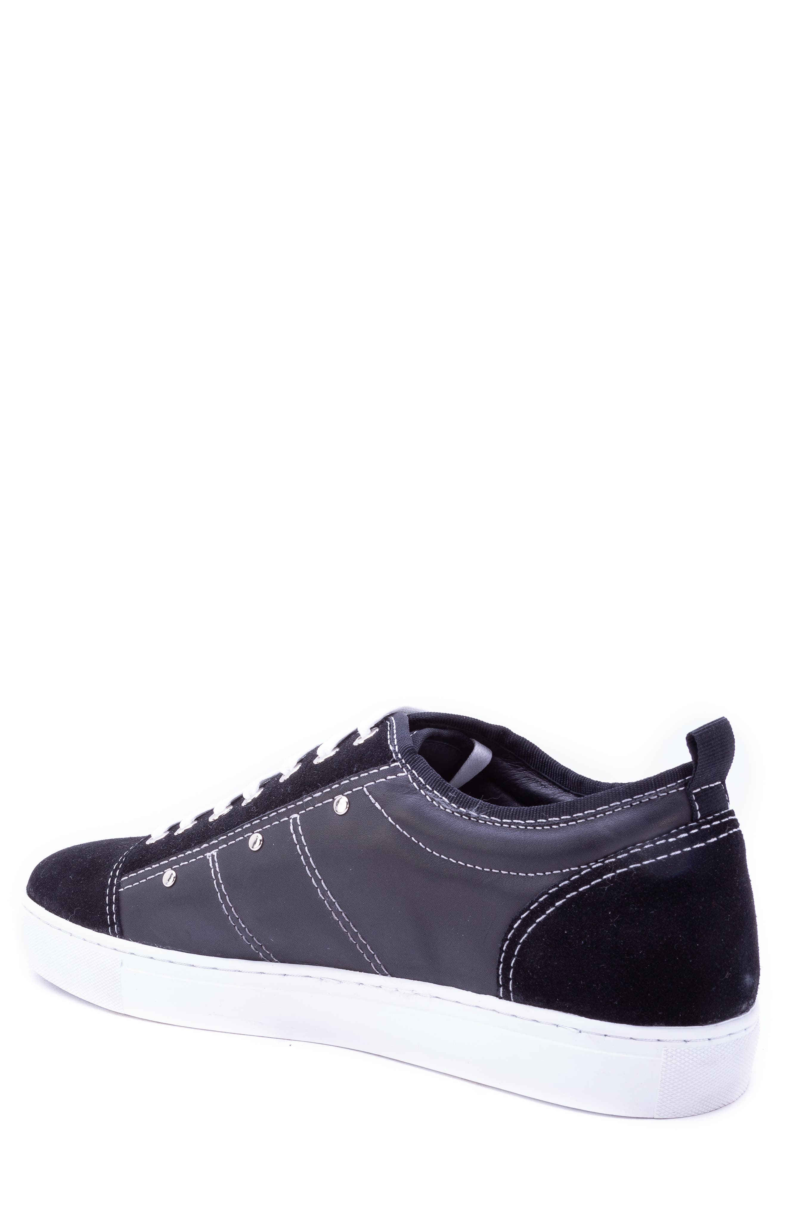 Severn Studded Low Top Sneaker,                             Alternate thumbnail 2, color,                             BLACK SUEDE/ LEATHER