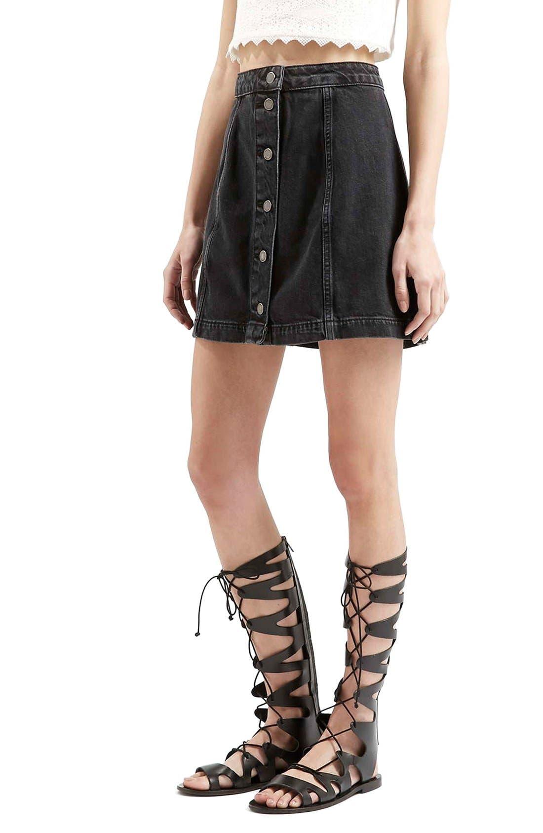 Button Front A-Line Denim Skirt, Main, color, 001