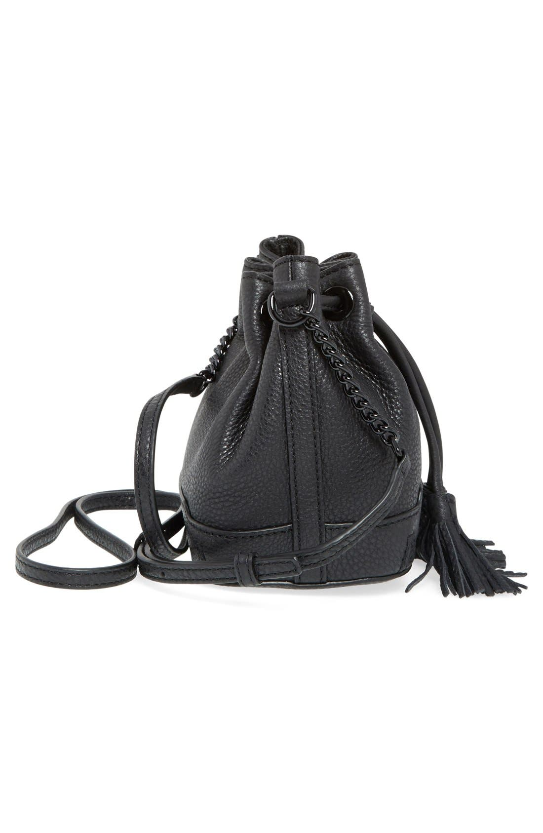 'Micro Lexi' Bucket Bag,                             Alternate thumbnail 4, color,                             001