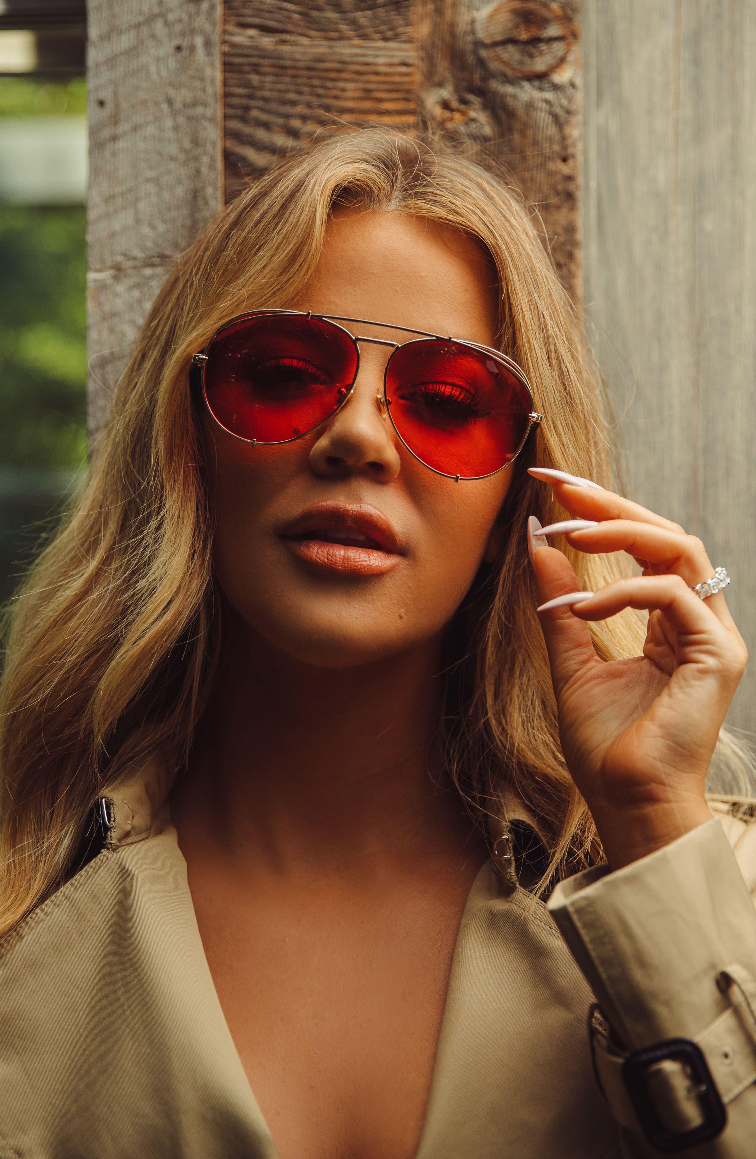 x Khloé Koko 63mm Oversize Aviator Sunglasses,                             Alternate thumbnail 5, color,                             710