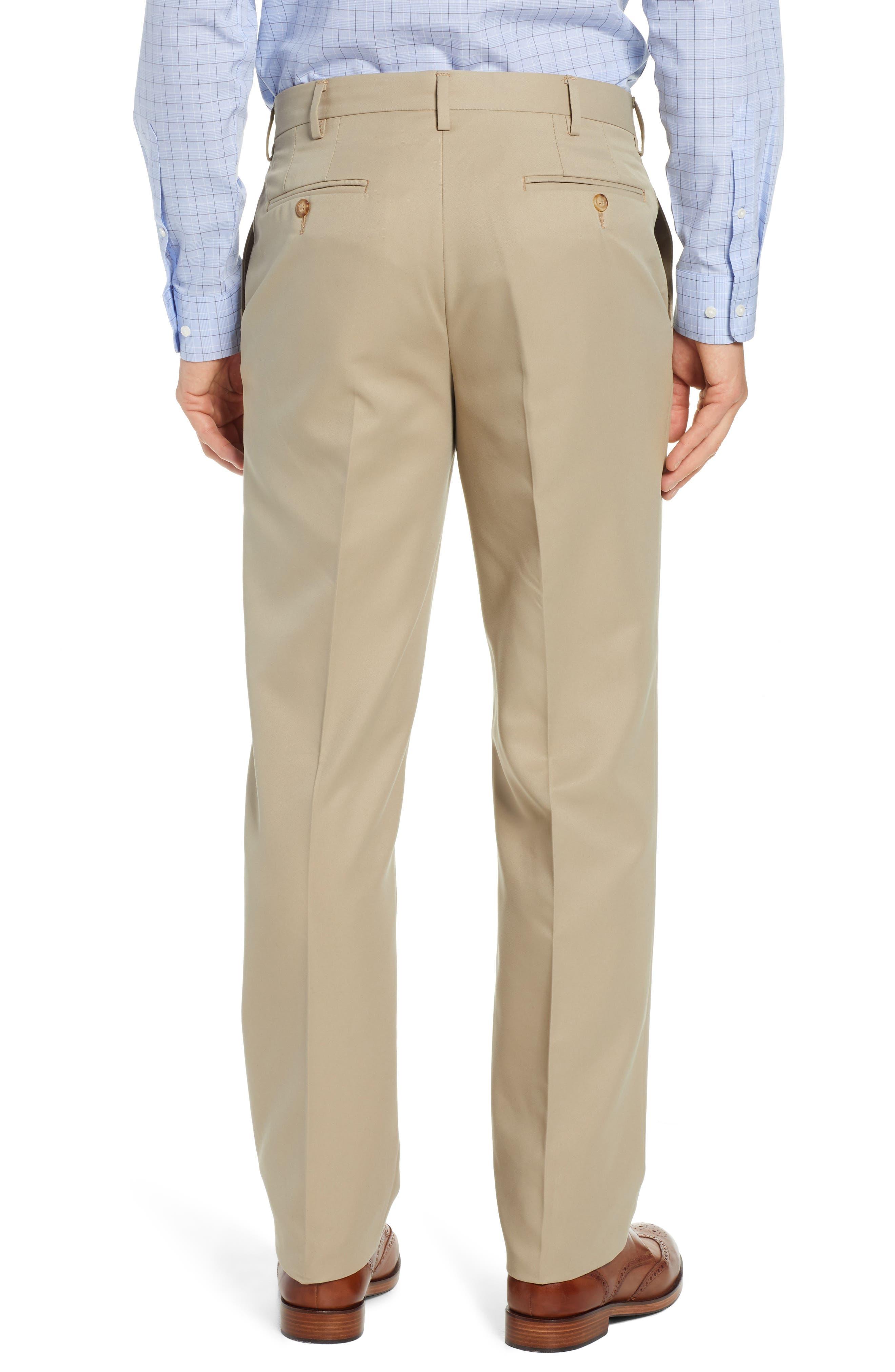 Classic Fit Flat Front Microfiber Performance Trousers,                             Alternate thumbnail 2, color,                             TAN