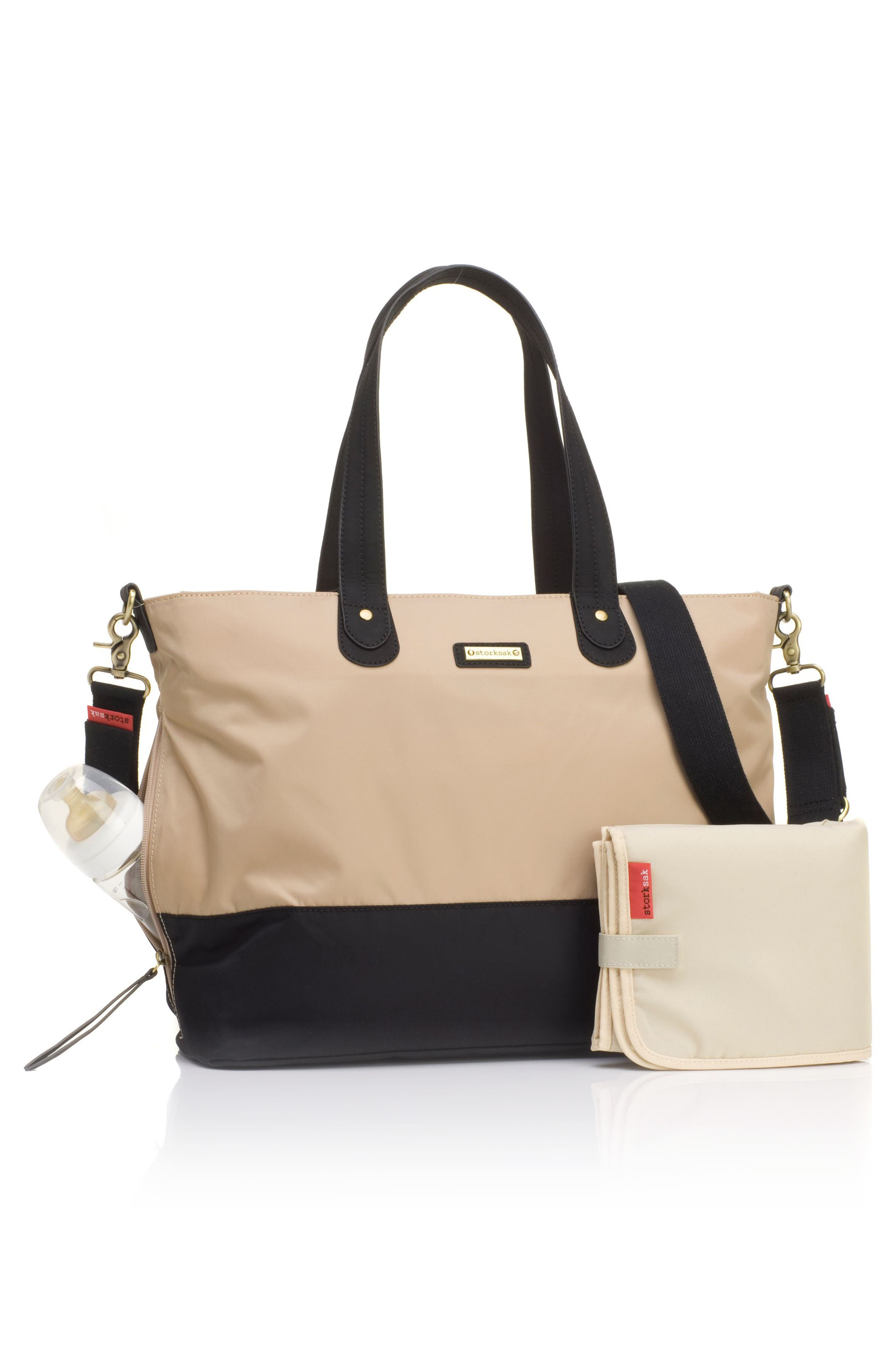 Diaper Tote,                             Alternate thumbnail 2, color,                             CHAMPAGNE/ BLACK