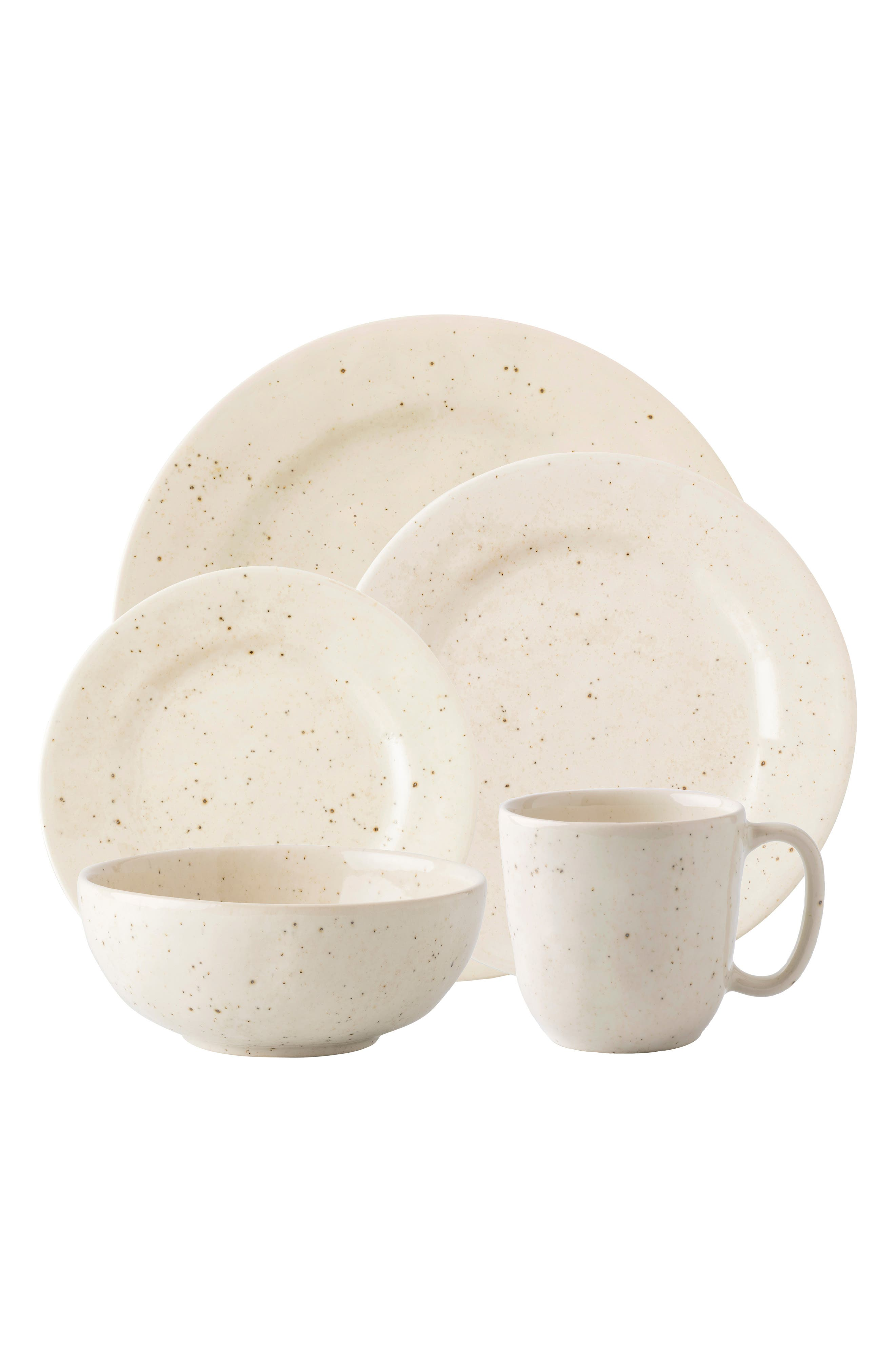 Puro 5-Piece Ceramic Place Setting,                         Main,                         color, VANILLA BEAN