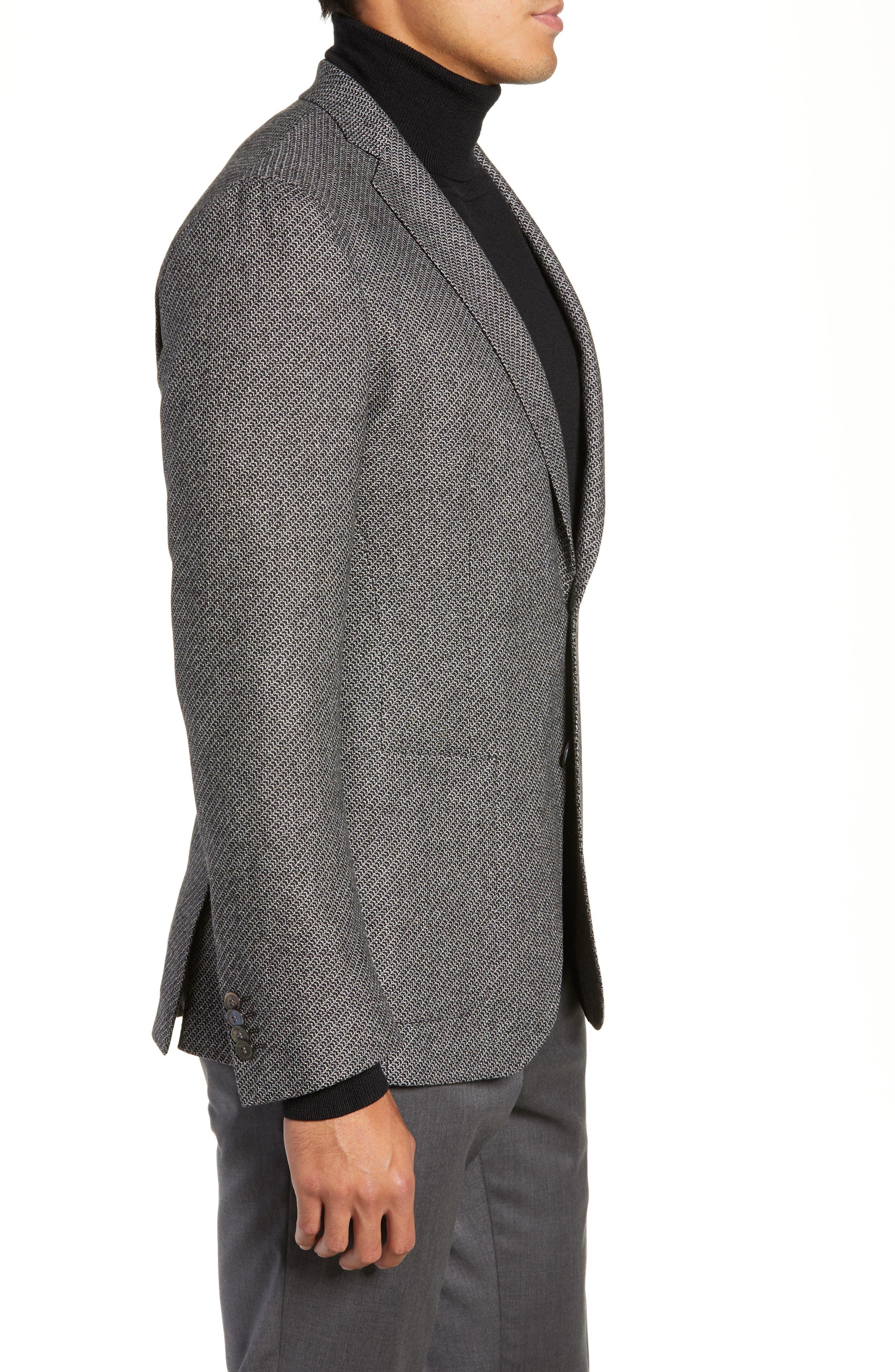 BOSS,                             Raye Extra Trim Fit Wool Blend Sport Coat,                             Alternate thumbnail 3, color,                             DARK GREY