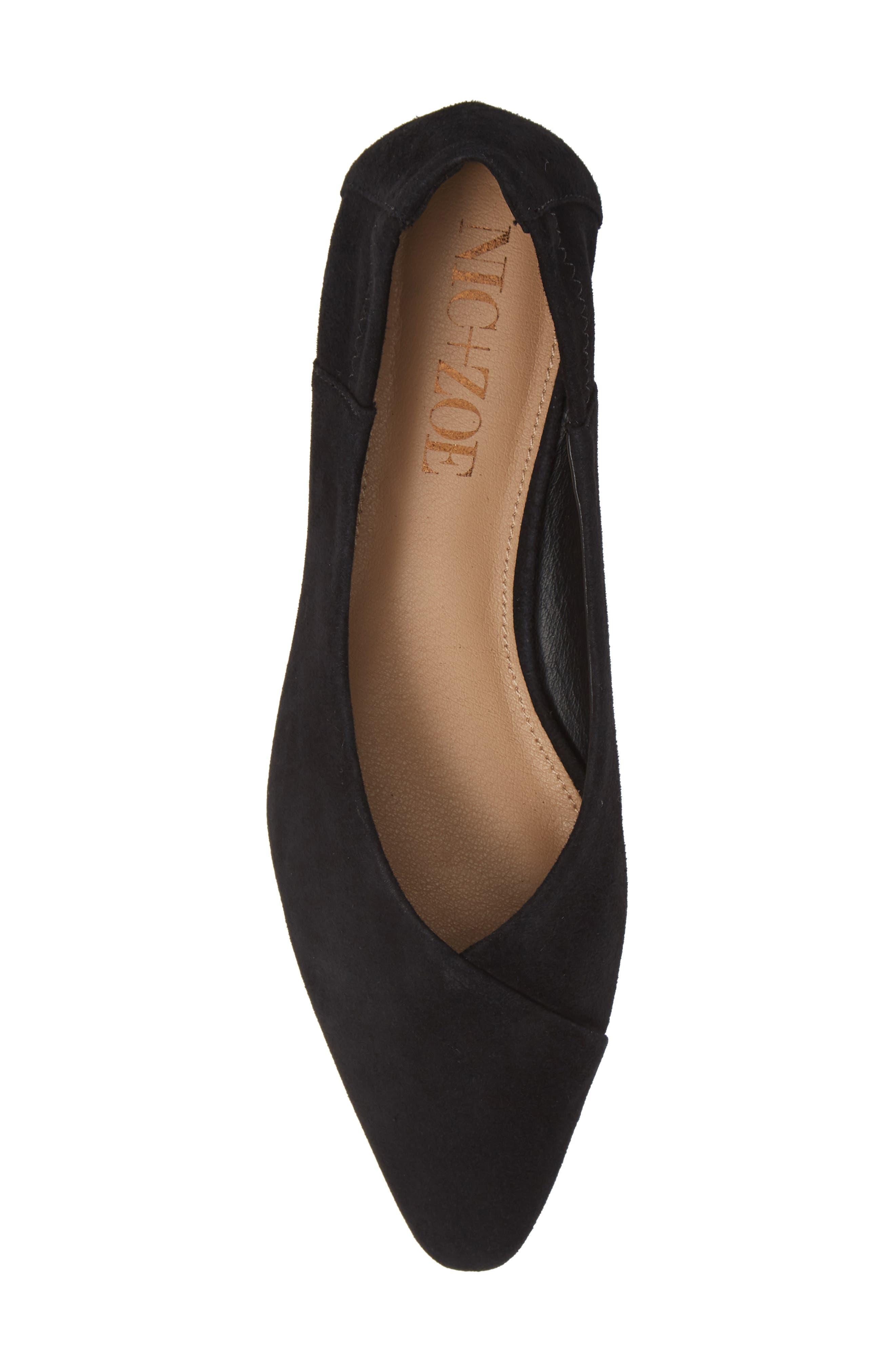 Sabrina Ballet Flat,                             Alternate thumbnail 5, color,                             BLACK SUEDE