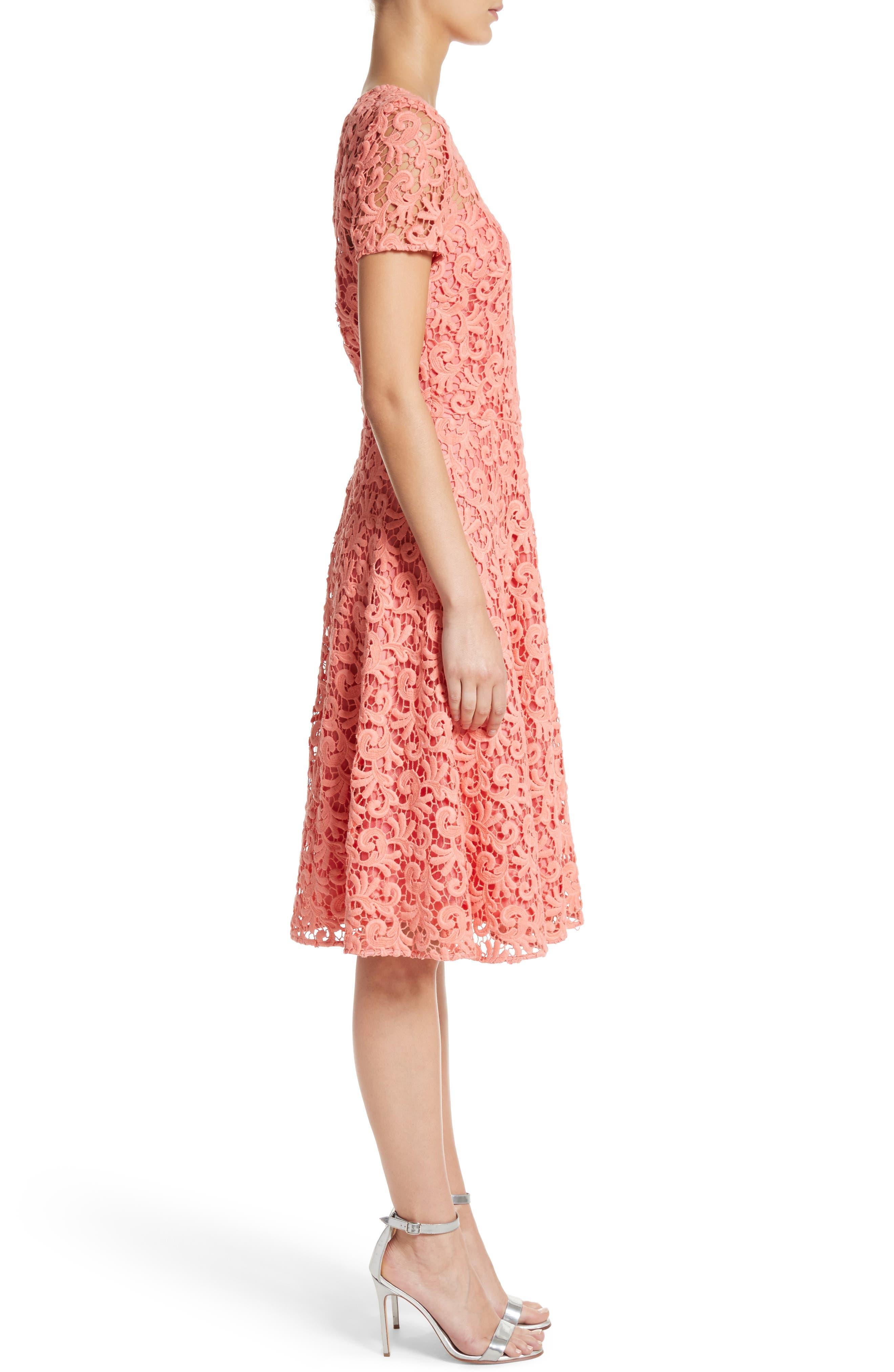 Paisley Guipure Lace Dress,                             Alternate thumbnail 3, color,                             950