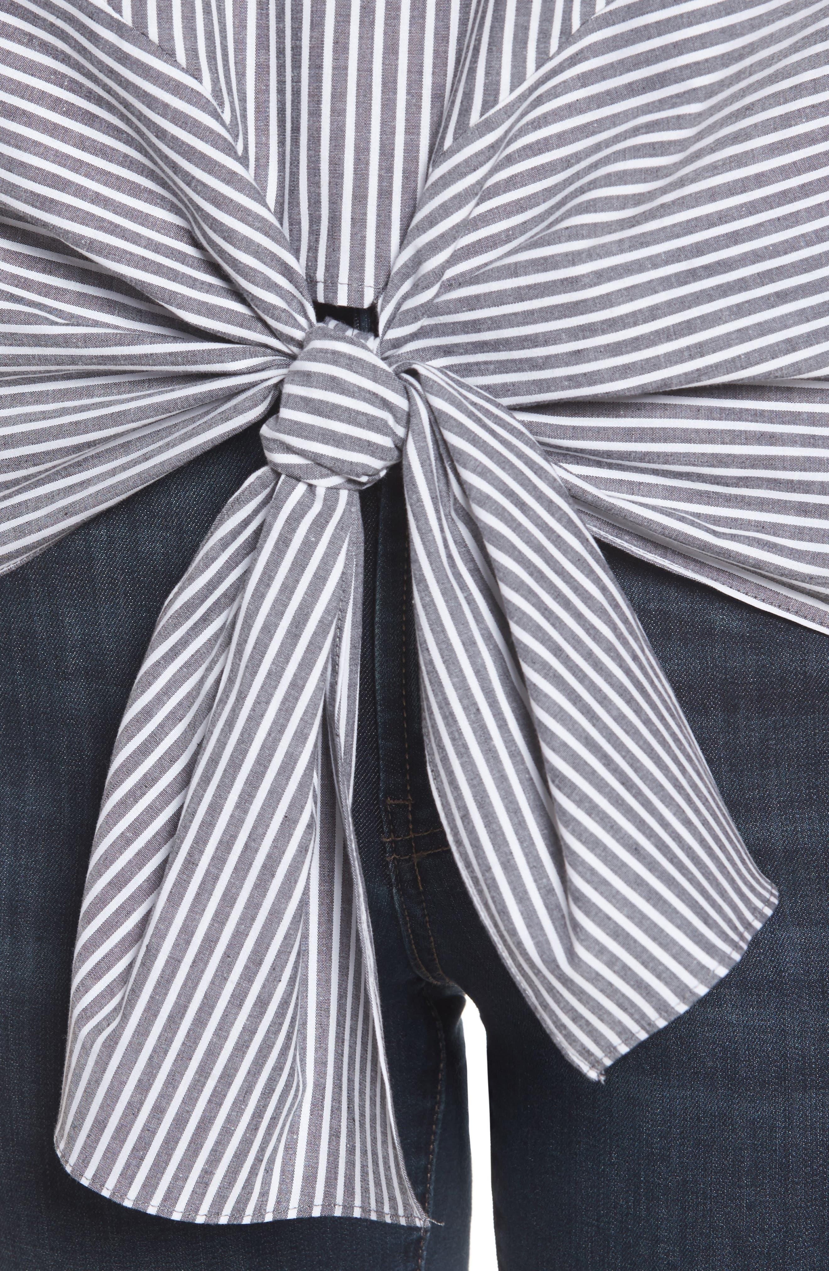 Bubble Sleeve Tie Front Top,                             Alternate thumbnail 4, color,                             005