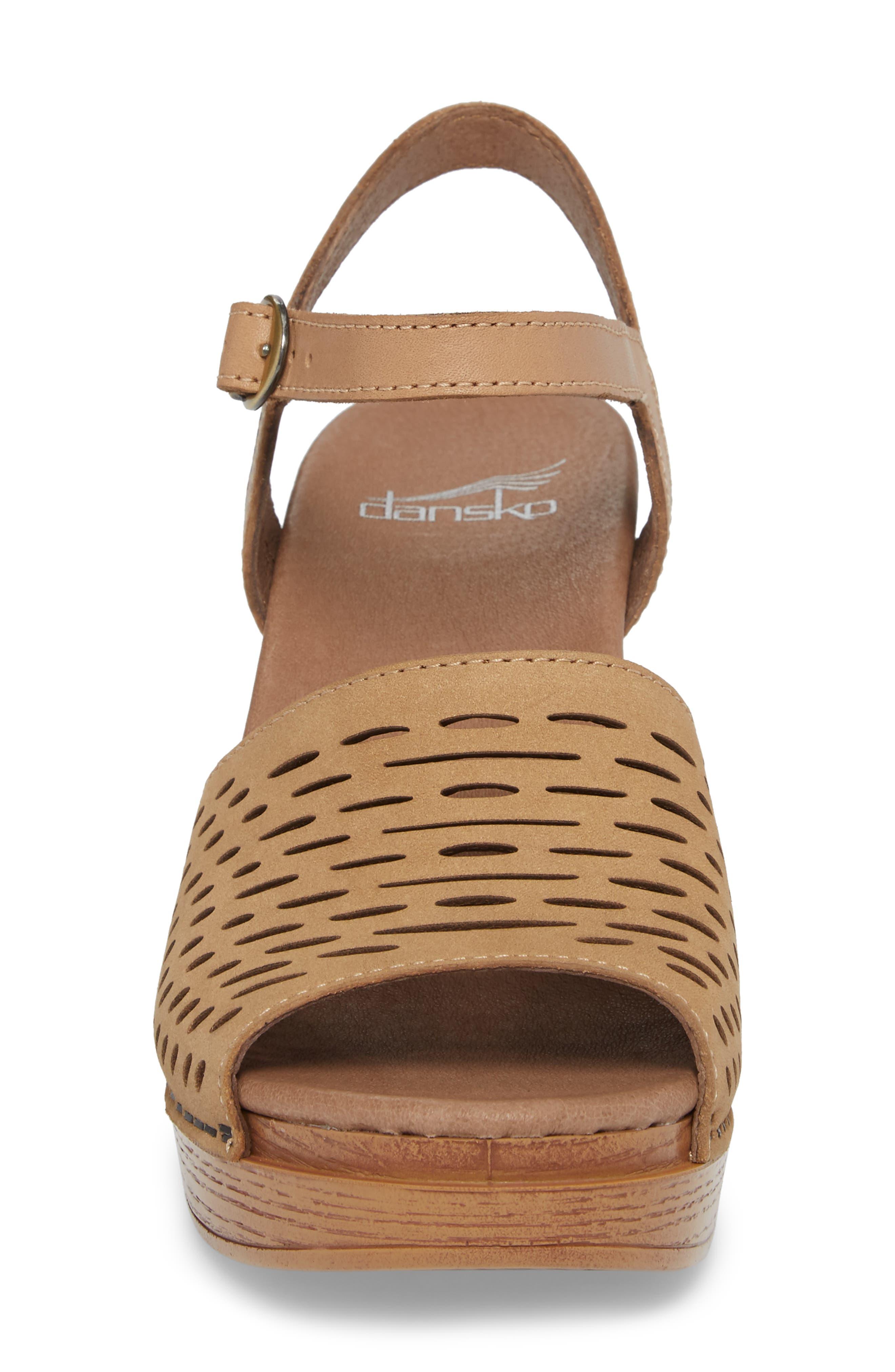 Denita Block Heel Sandal,                             Alternate thumbnail 4, color,                             SAND MILLED NUBUCK