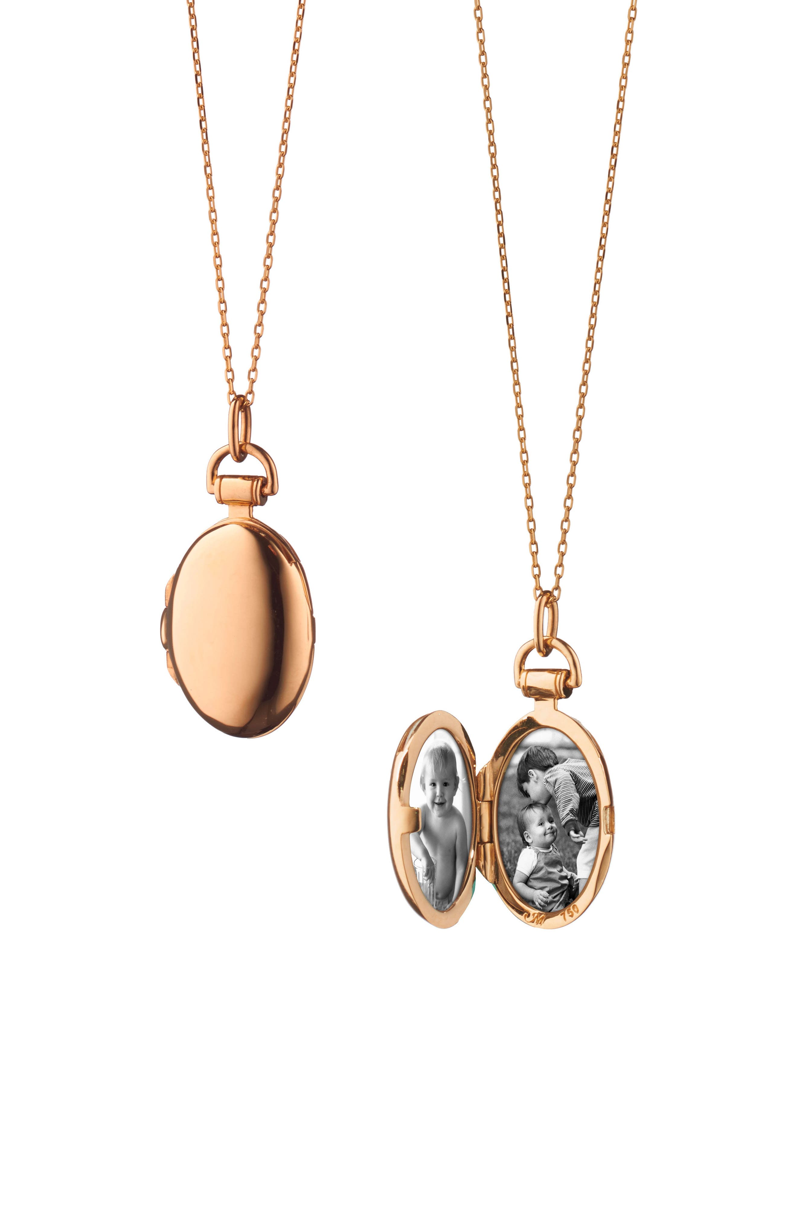 Anna Petite Locket Necklace,                             Main thumbnail 1, color,                             18K ROSE GOLD