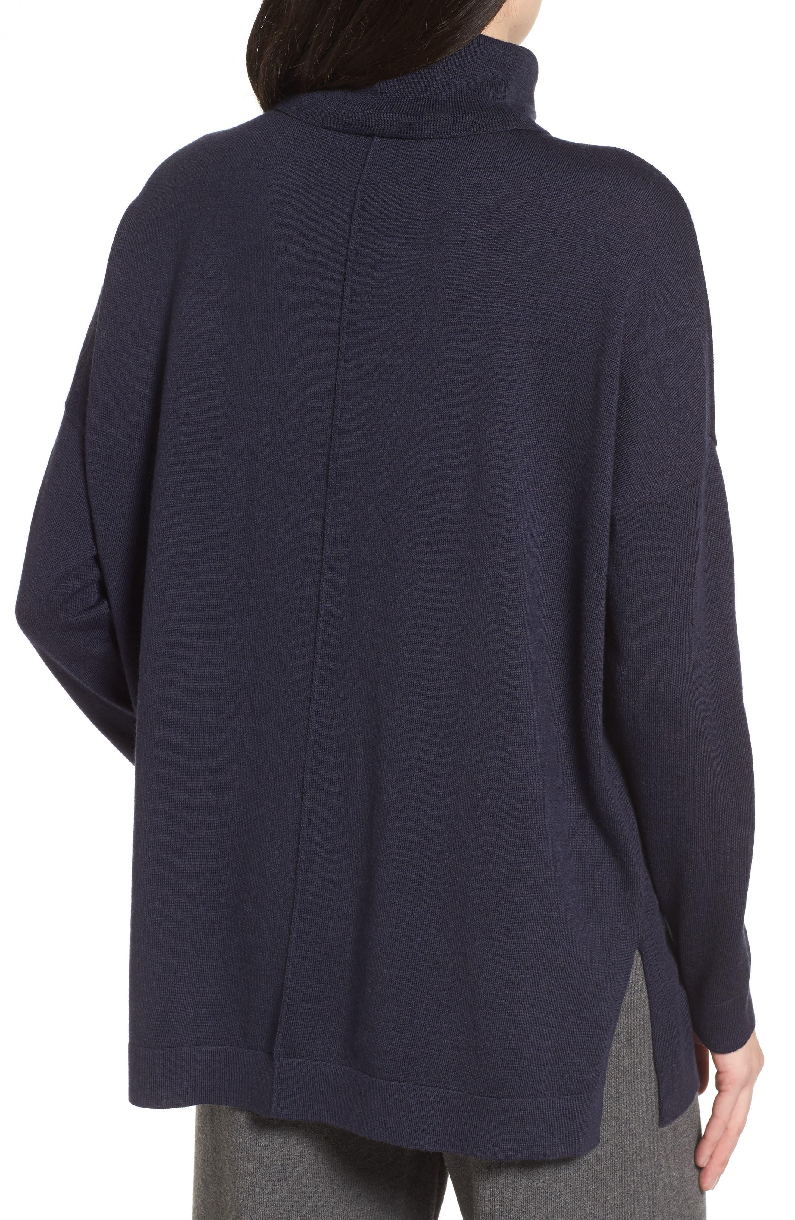 Merino Wool Boxy Turtleneck Sweater,                             Alternate thumbnail 9, color,