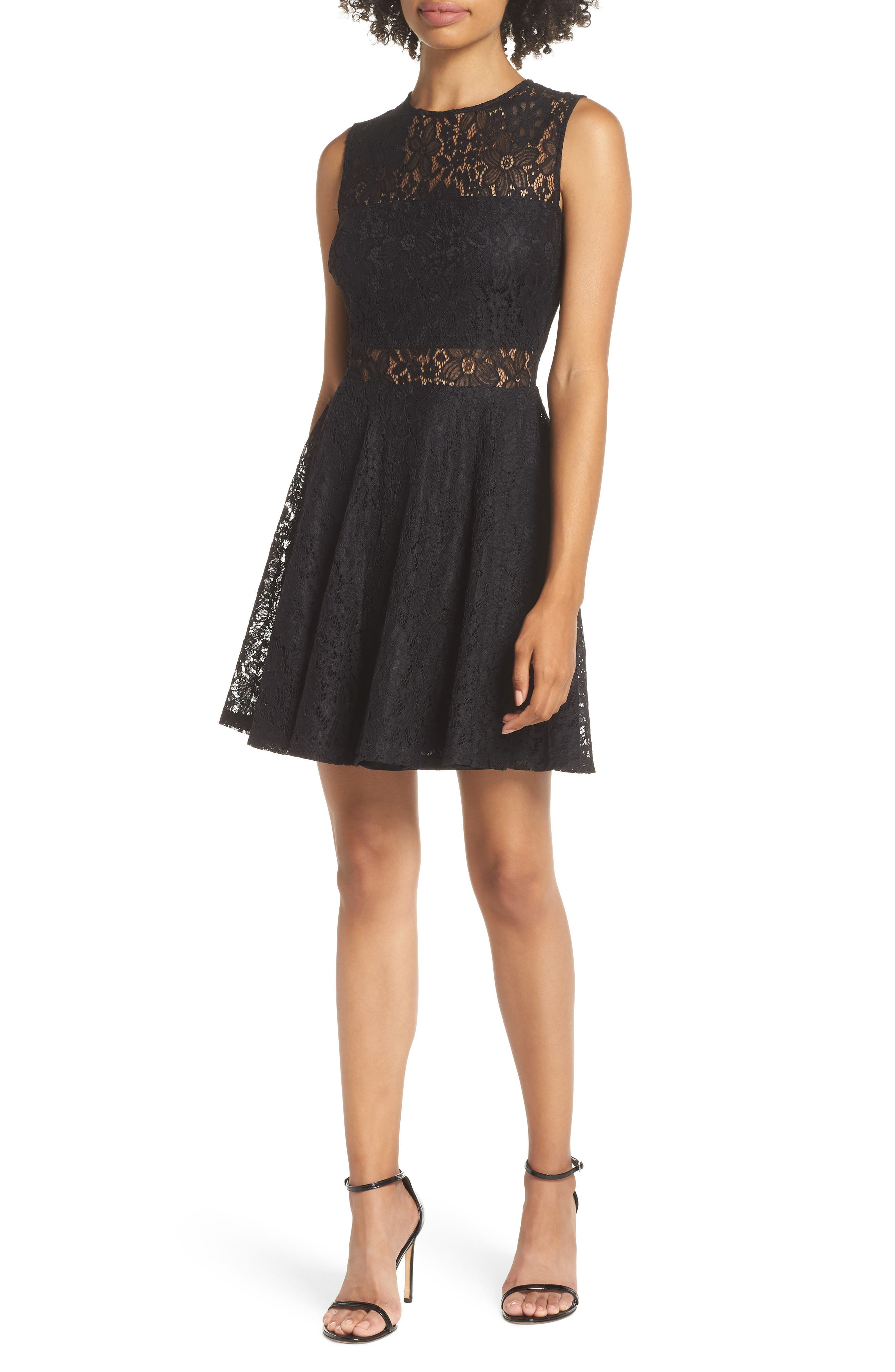 Lace Skater Dress,                         Main,                         color, BLACK