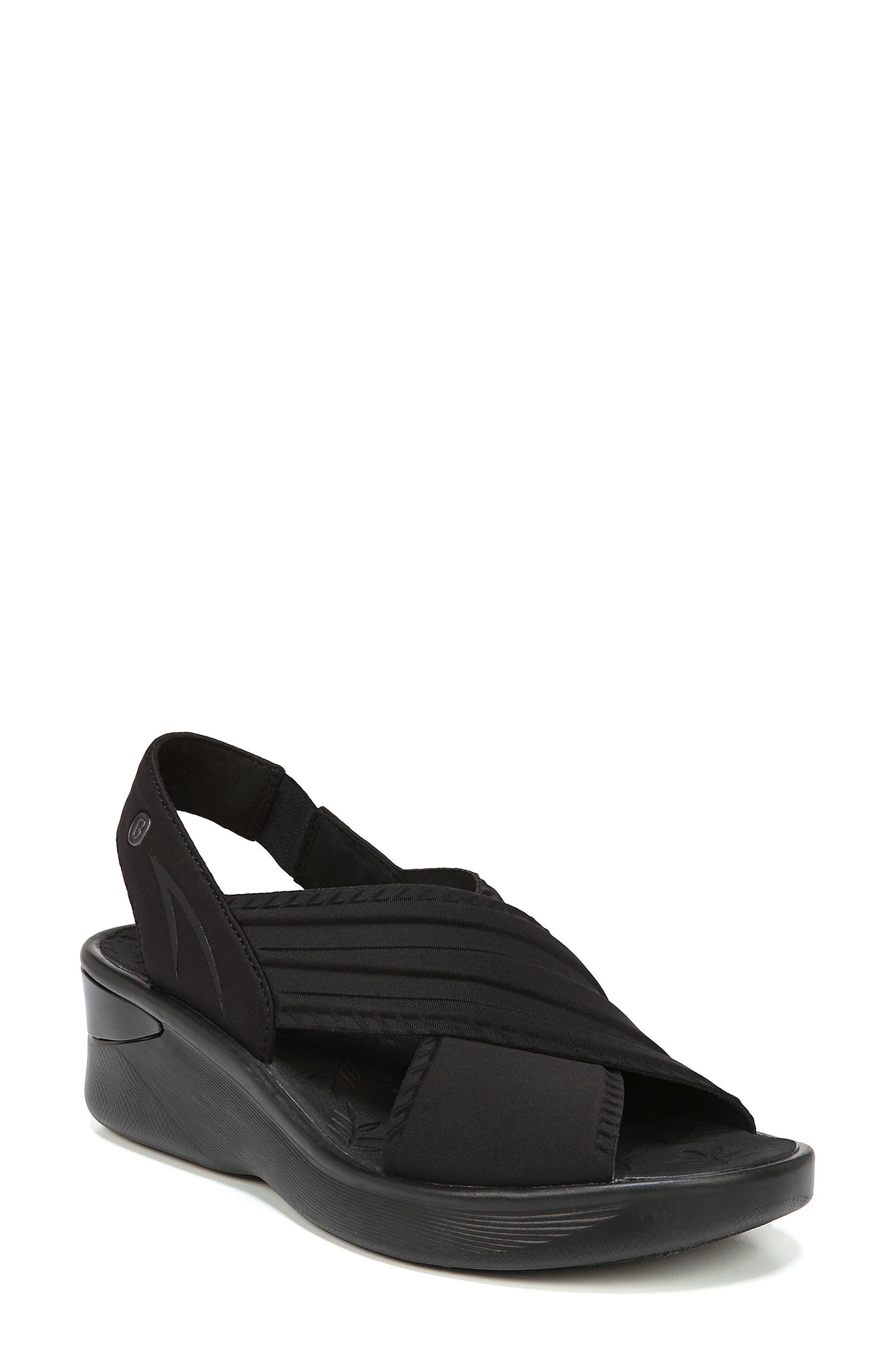 Sunset Wedge Sandal,                         Main,                         color, BLACK FABRIC