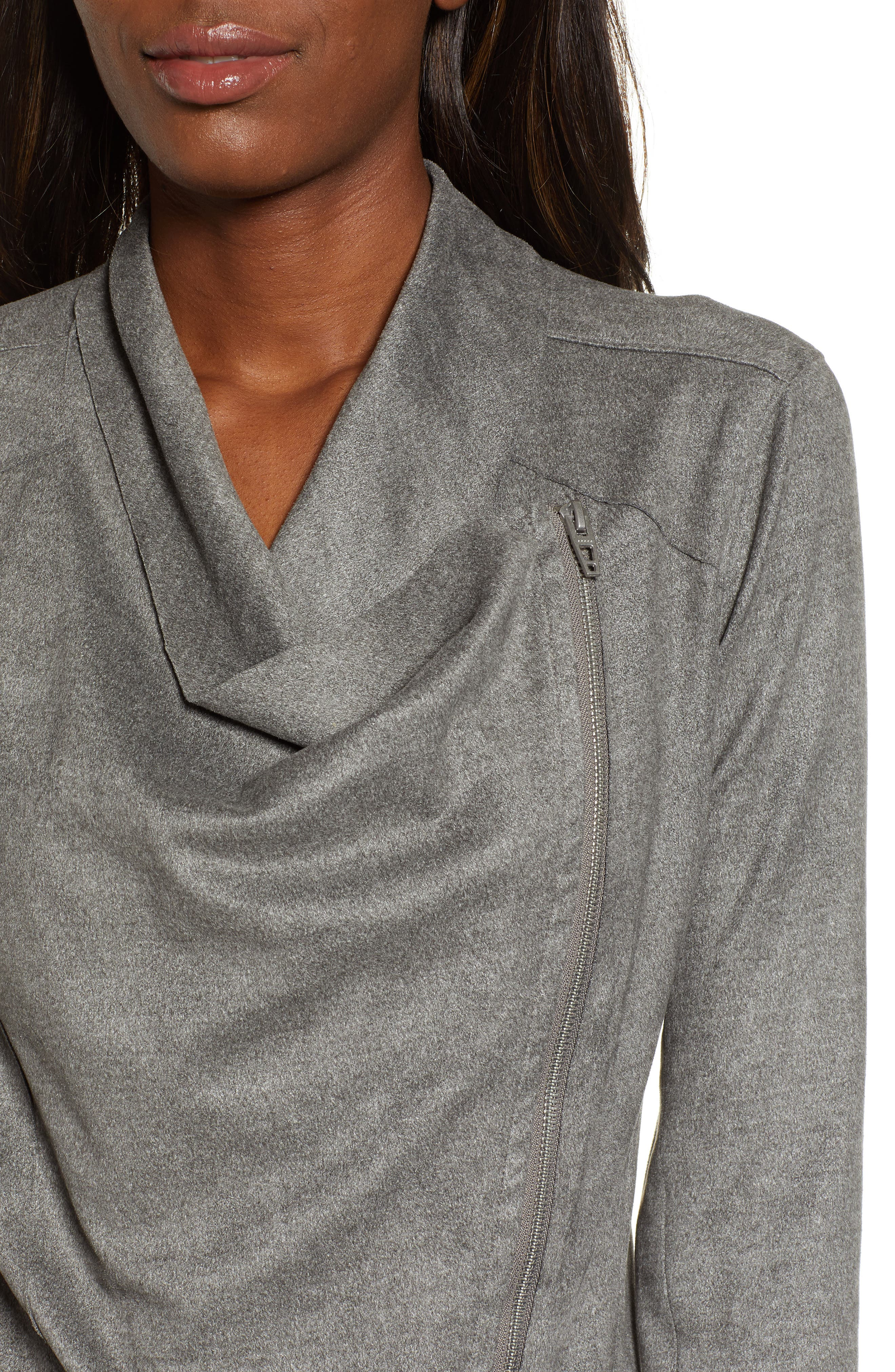 BLANKNYC,                             Faux Suede Drape Jacket,                             Alternate thumbnail 5, color,                             HEATHERED GREY