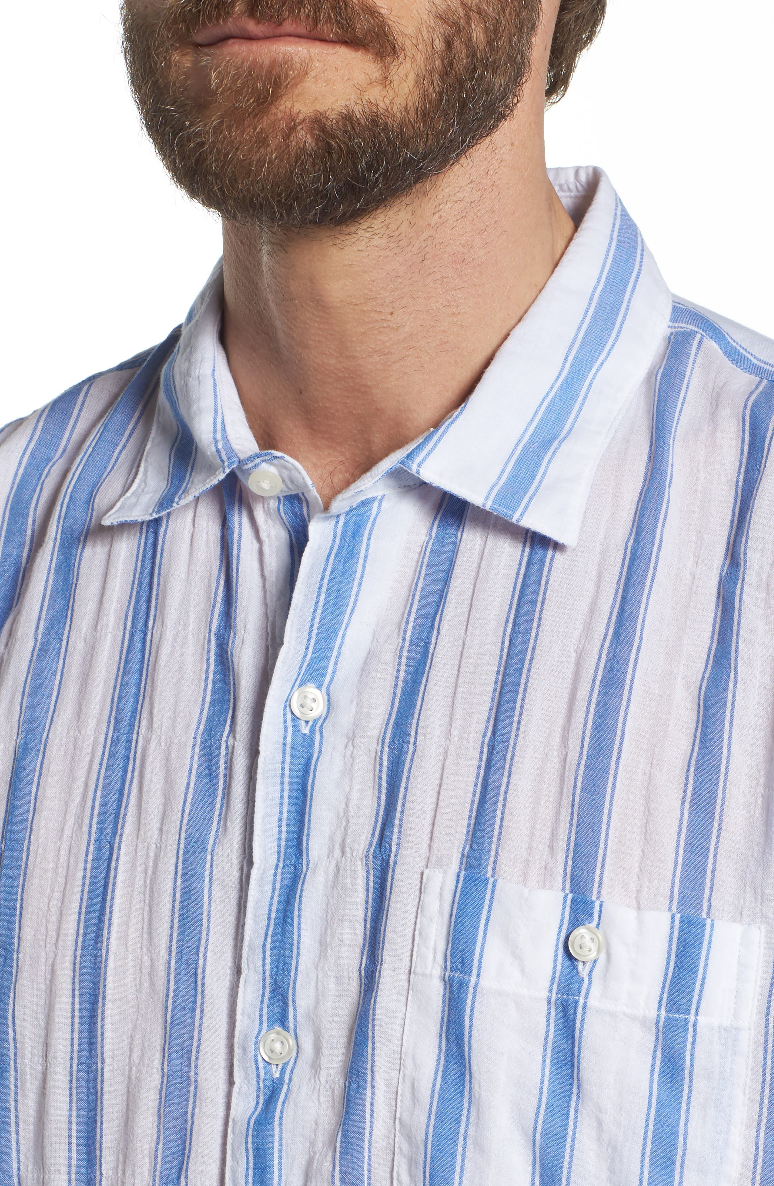 Beach Slim Fit Stripe Sport Shirt,                             Alternate thumbnail 4, color,                             100