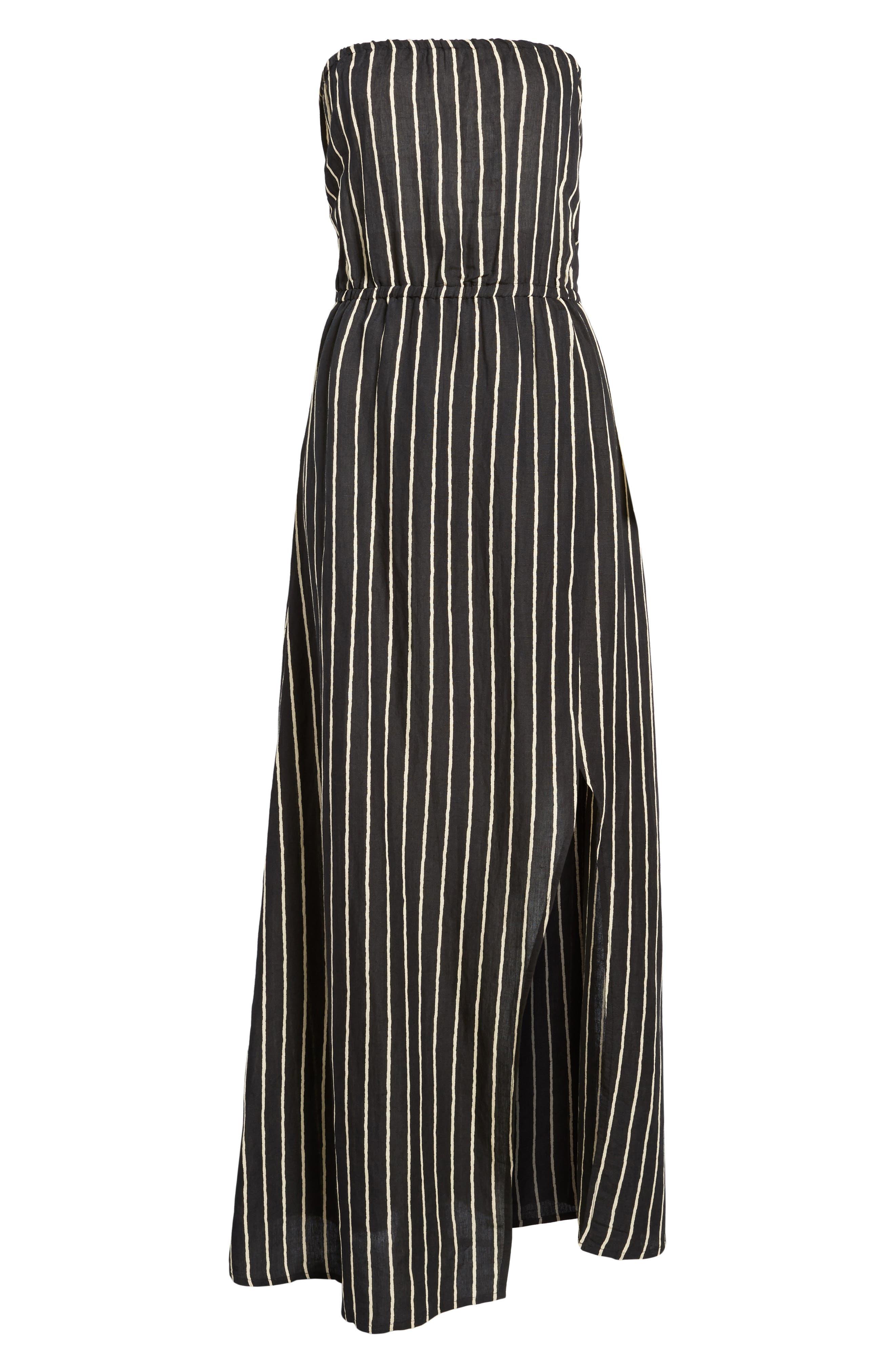 Strapless Faux Wrap Maxi Dress,                             Alternate thumbnail 7, color,