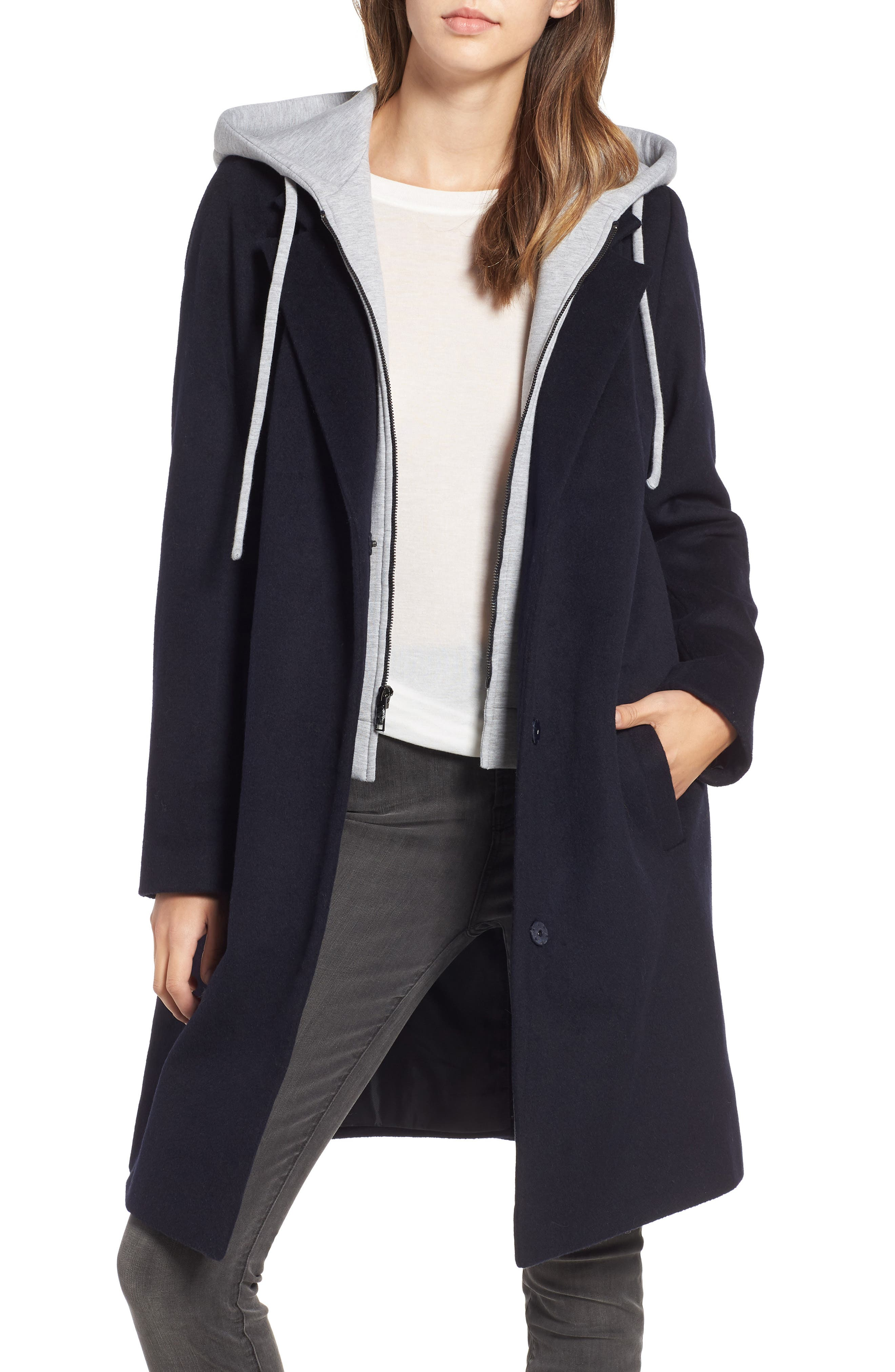 Hoodie Inset Wool Blend Coat,                         Main,                         color, NAVY