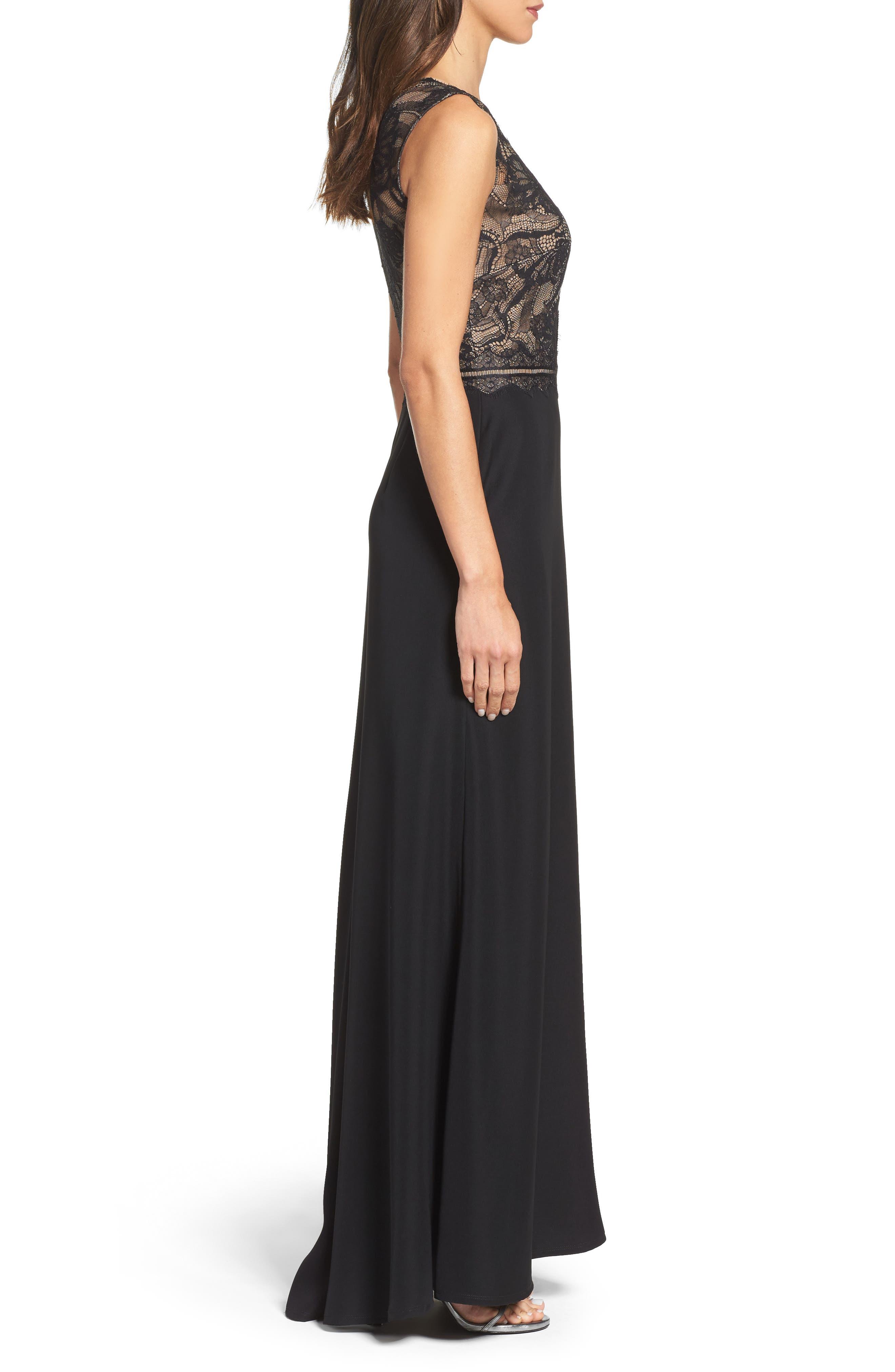Lace & Crepe Gown,                             Alternate thumbnail 3, color,                             004