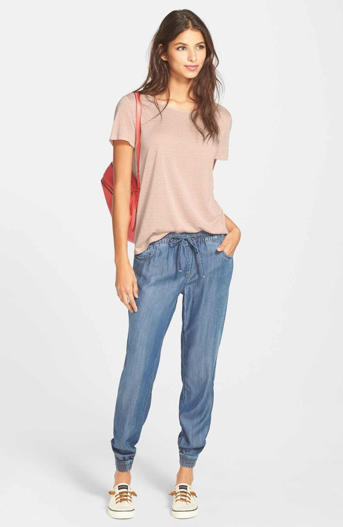 'Aubrey' Drawstring Denim Pants,                             Alternate thumbnail 4, color,                             420