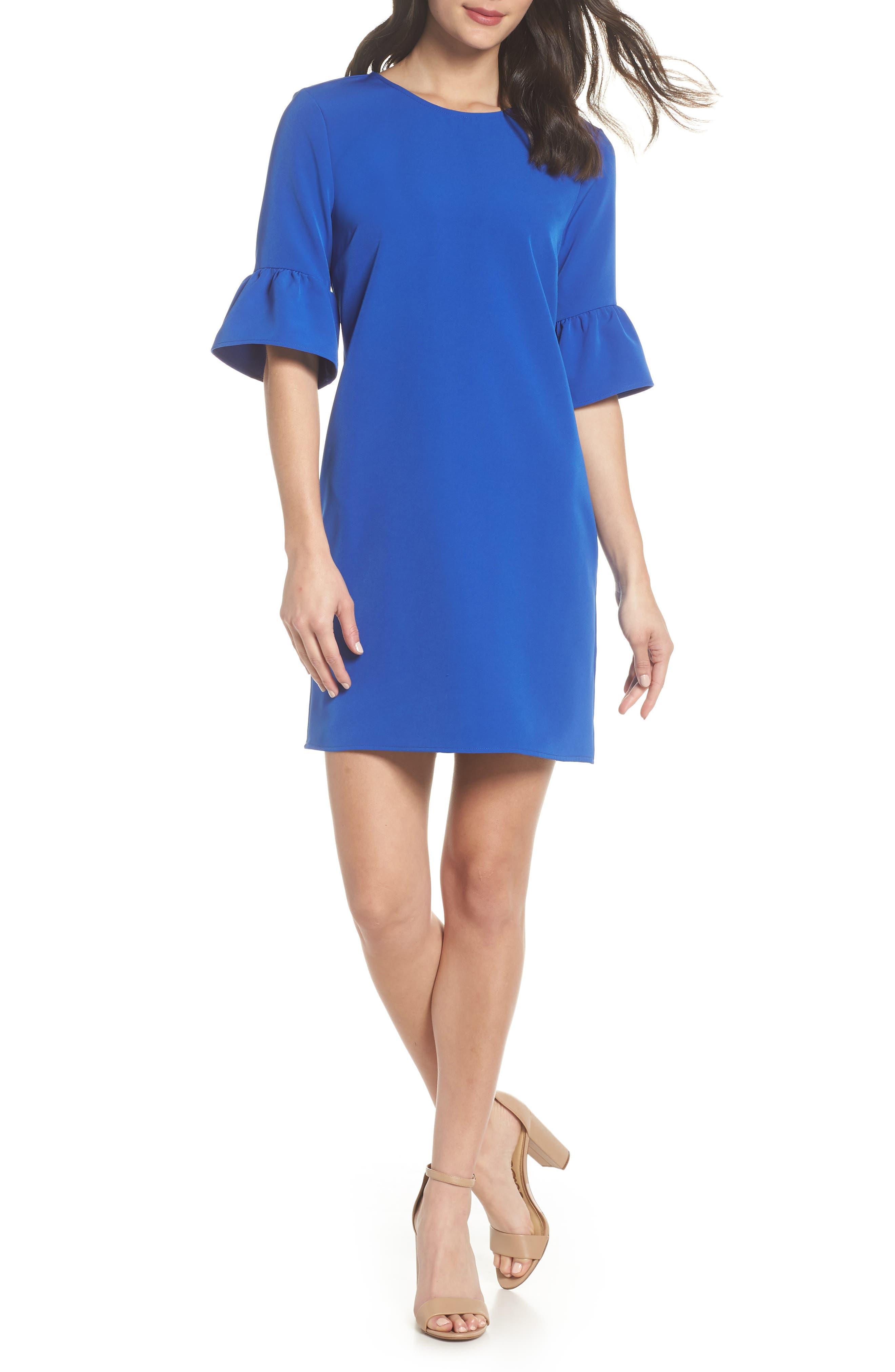 Bell Sleeve Shift Dress,                             Main thumbnail 1, color,                             PATRIOT BLUE