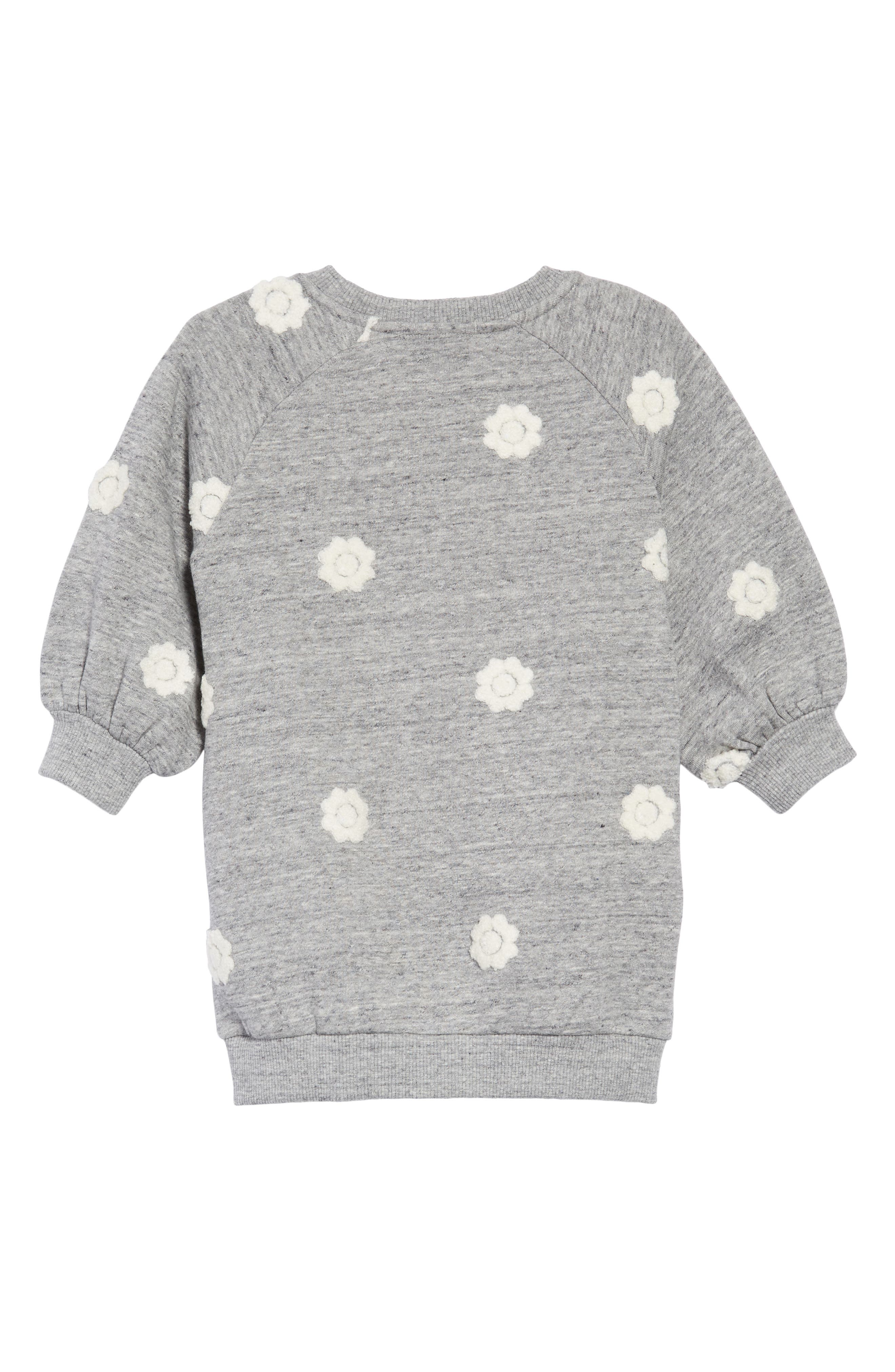 Floral Embroidered Sweatshirt Dress,                             Alternate thumbnail 2, color,                             GRIS CHINE