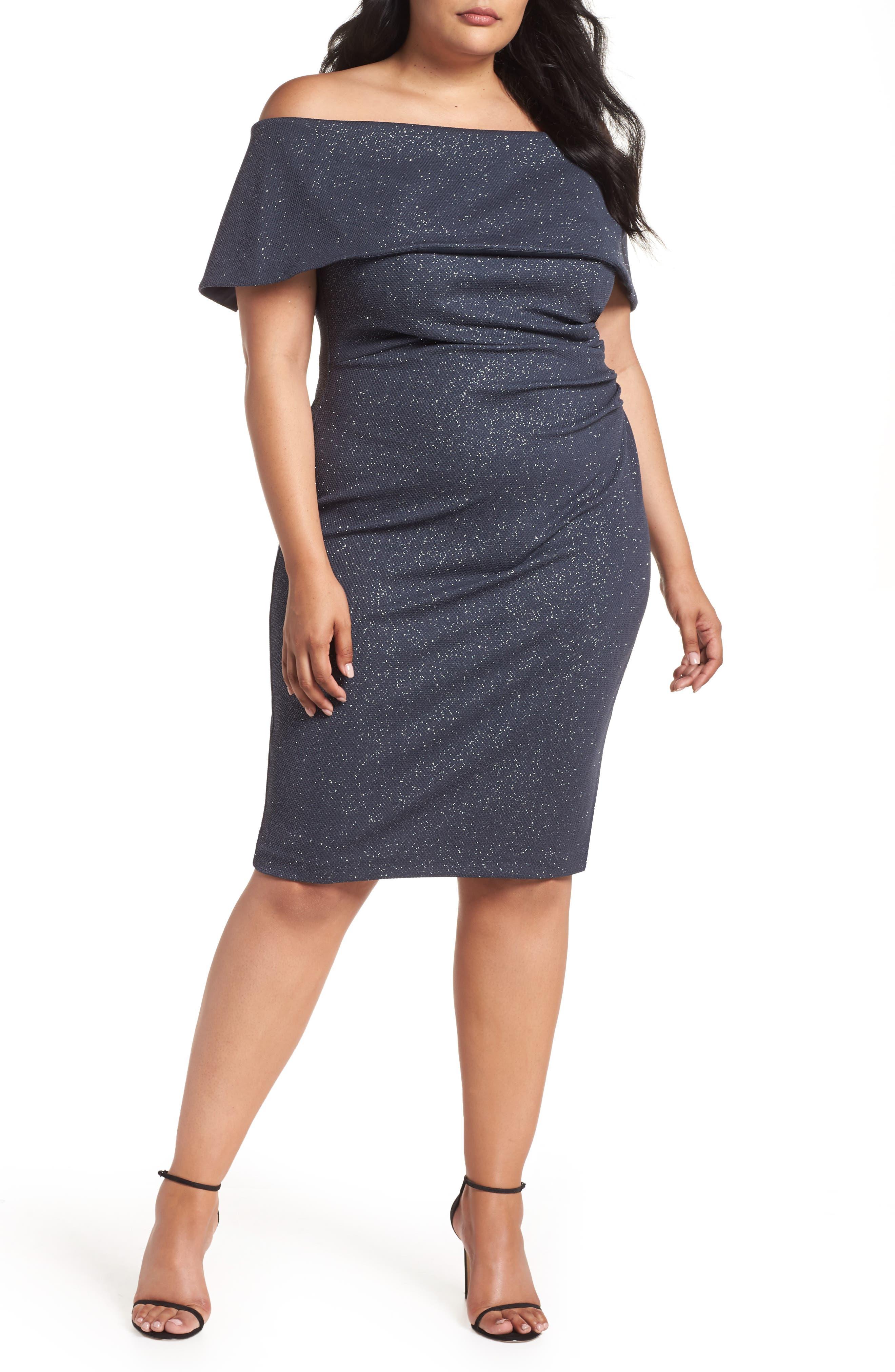 Off the Shoulder Sheath Dress,                         Main,                         color, STEEL