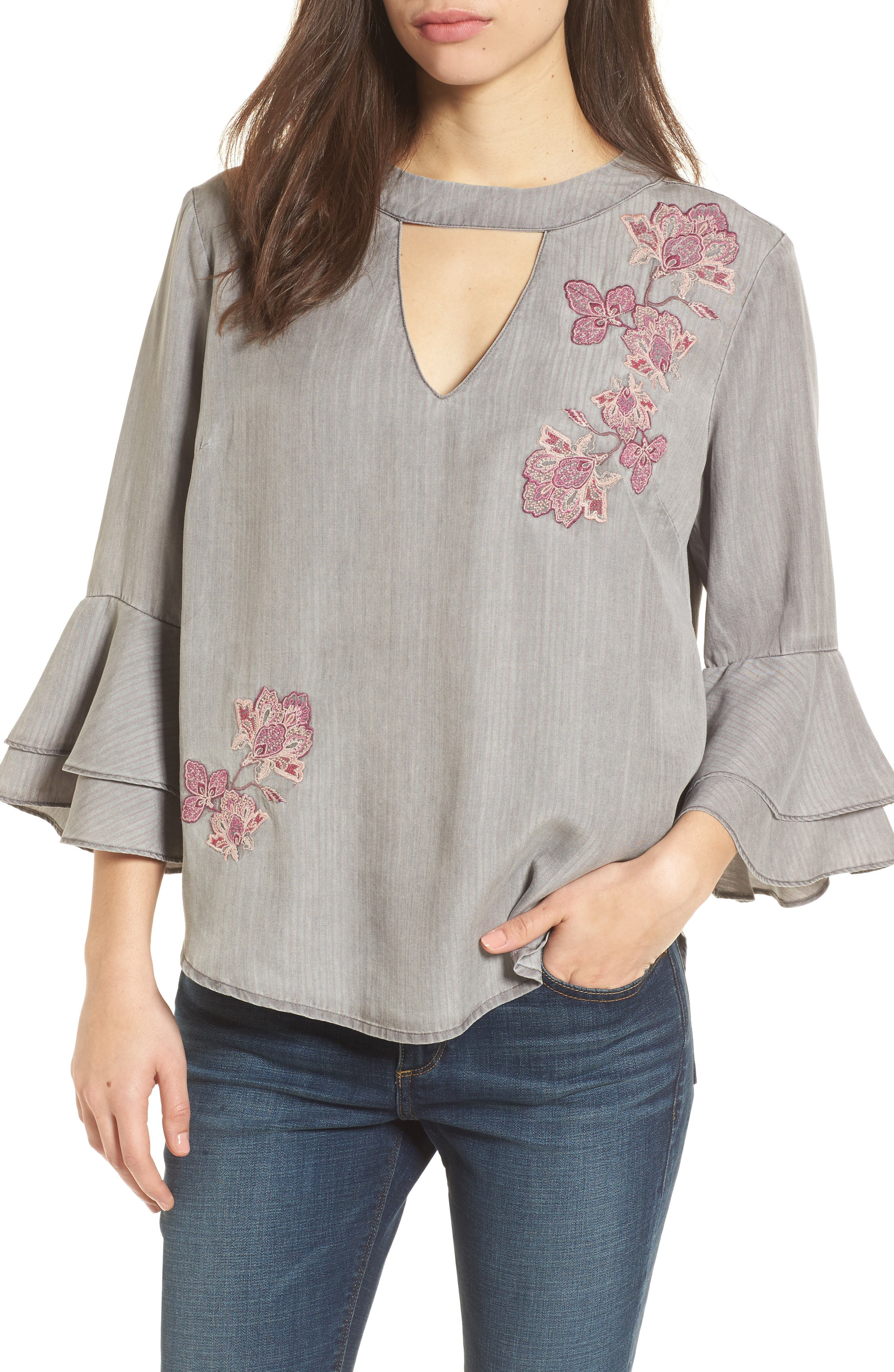 Embroidered Keyhole Top,                             Main thumbnail 1, color,                             023