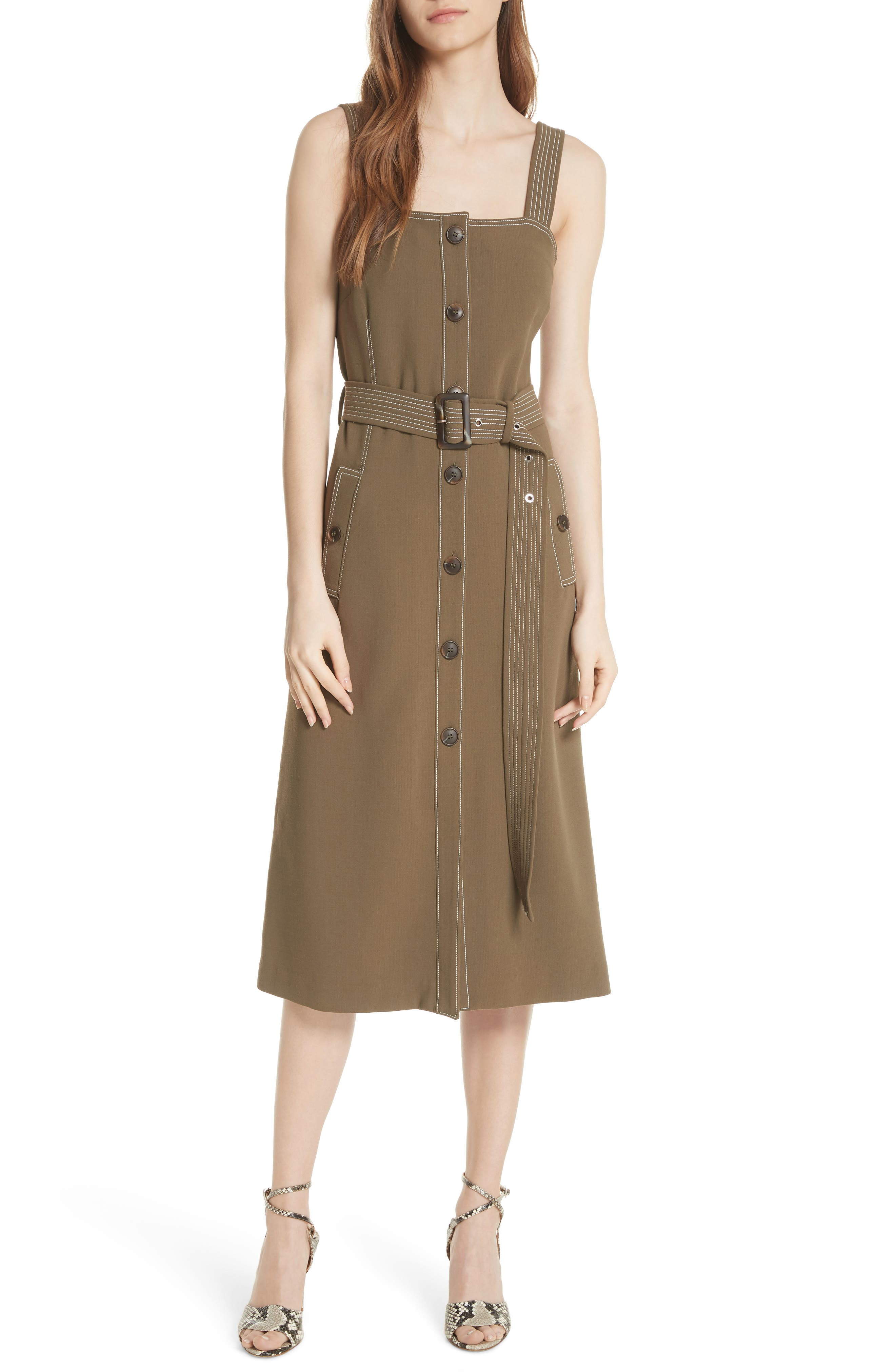 Adora Belted Dress,                             Main thumbnail 1, color,                             ARMY GREEN