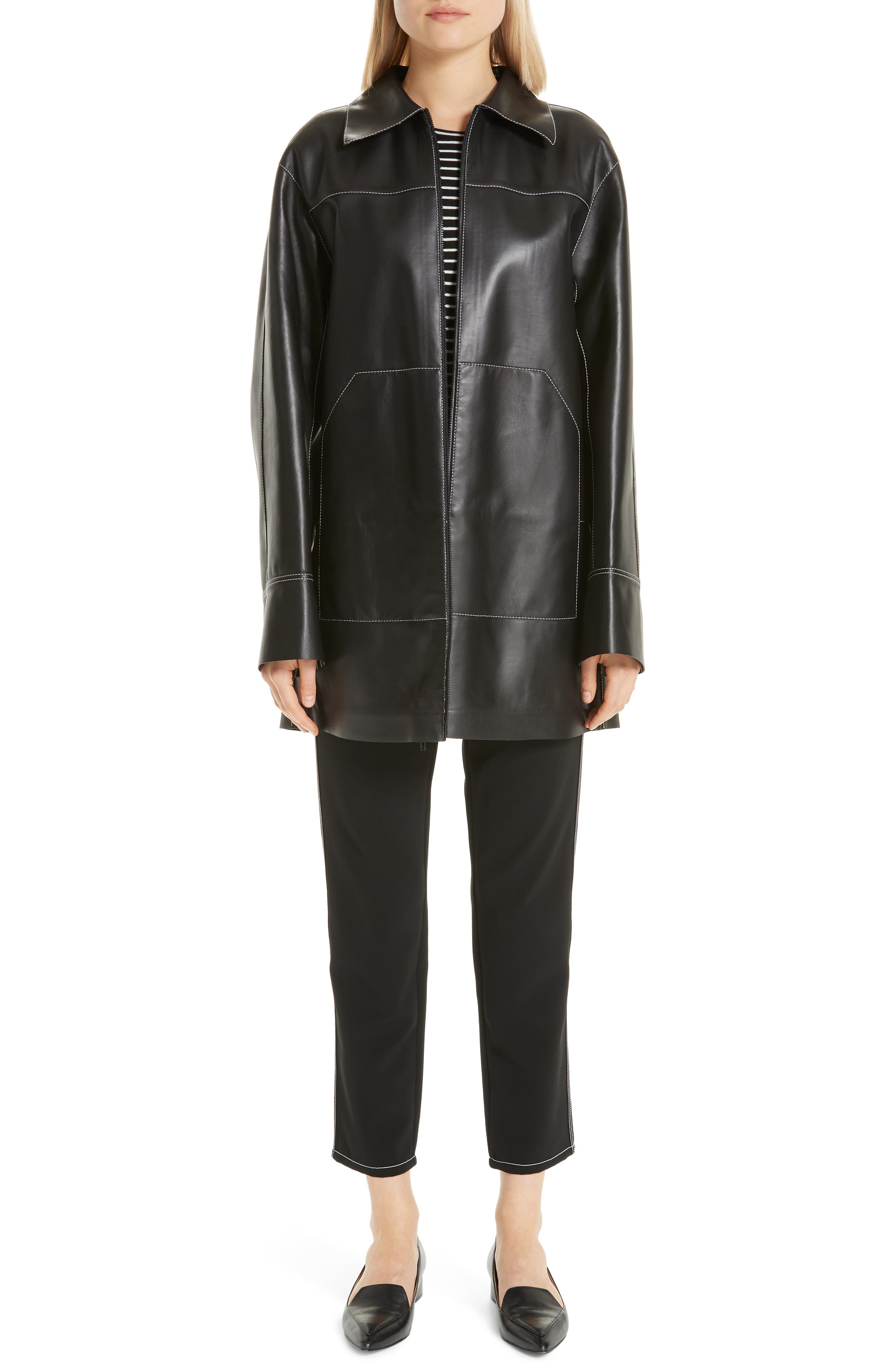 Christopher Leather Jacket,                             Alternate thumbnail 8, color,                             BLACK