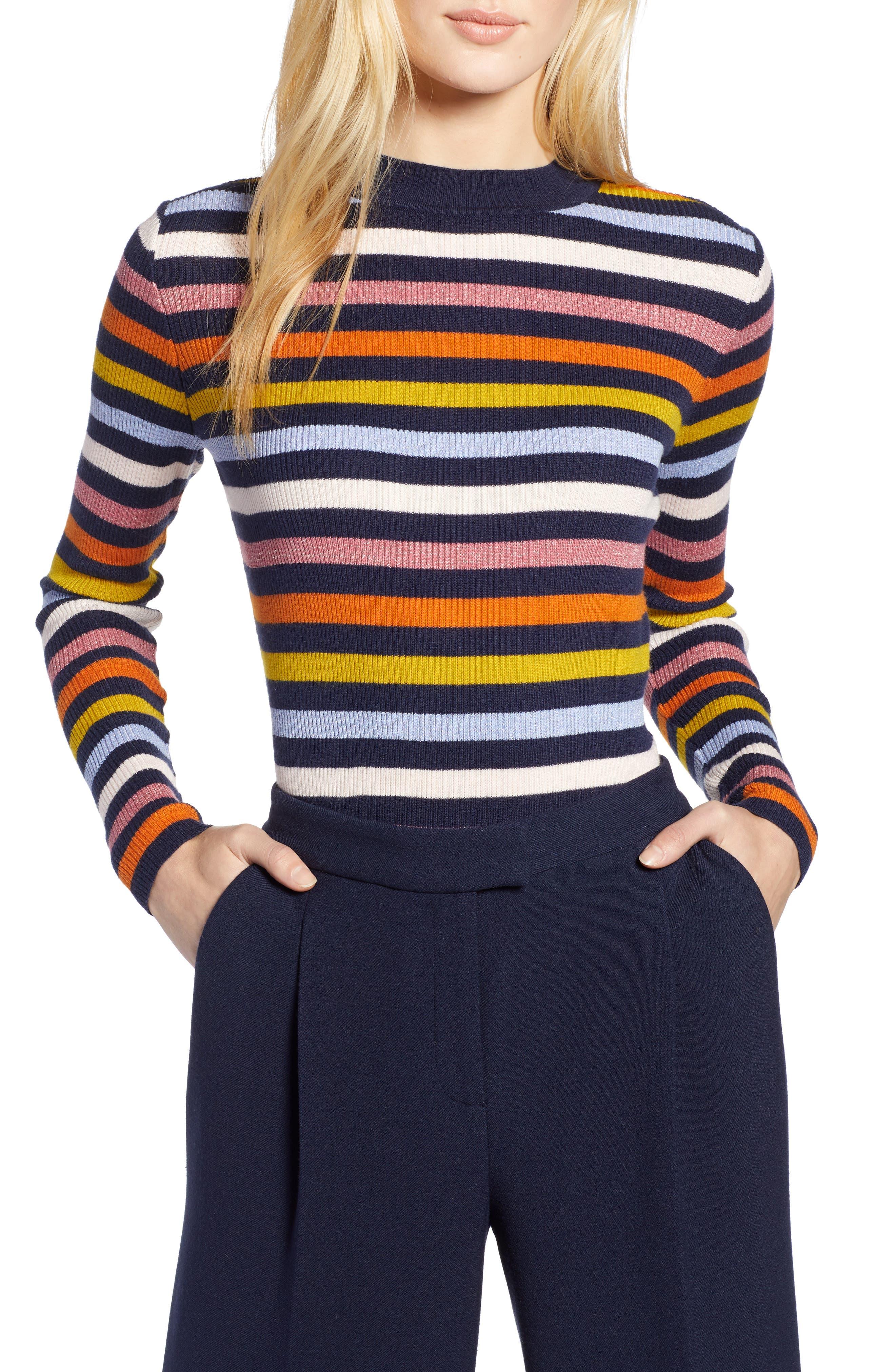 x Atlantic-Pacific Shimmer Stripe Sweater,                             Main thumbnail 1, color,                             NAVY MULTI STRIPE
