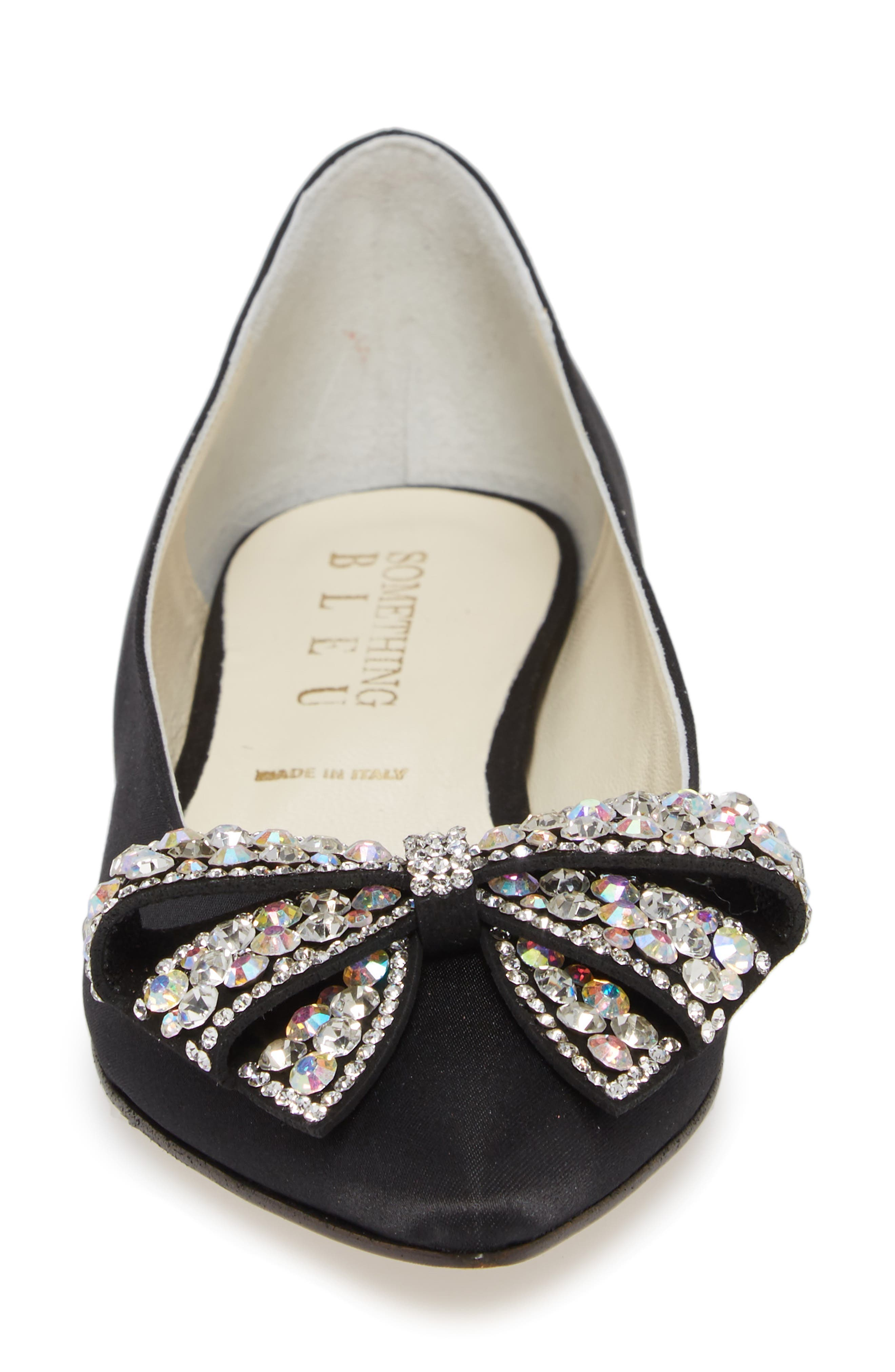 Milva Embellished Bow Pointy Toe Flat,                             Alternate thumbnail 4, color,                             001