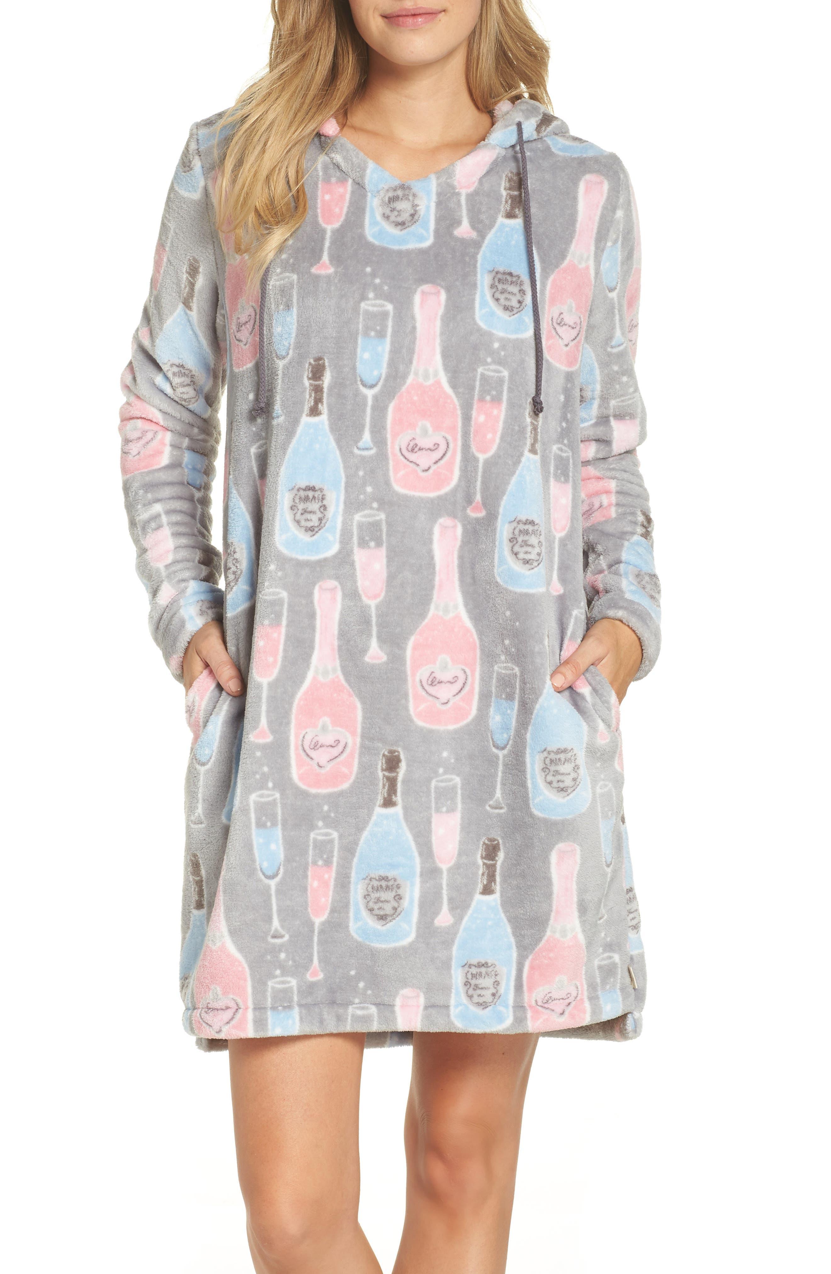 Munki Munki Plush Hooded Nightgown, Grey