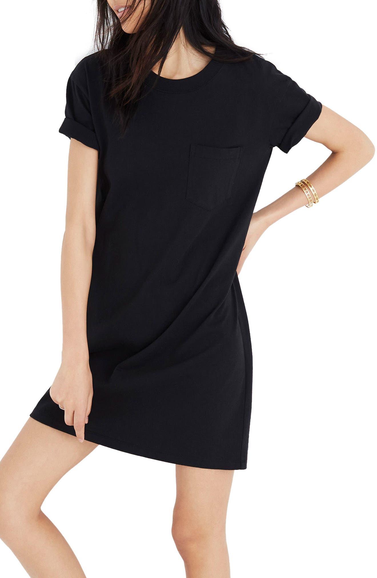 Pocket T-Shirt Dress,                             Main thumbnail 1, color,                             001