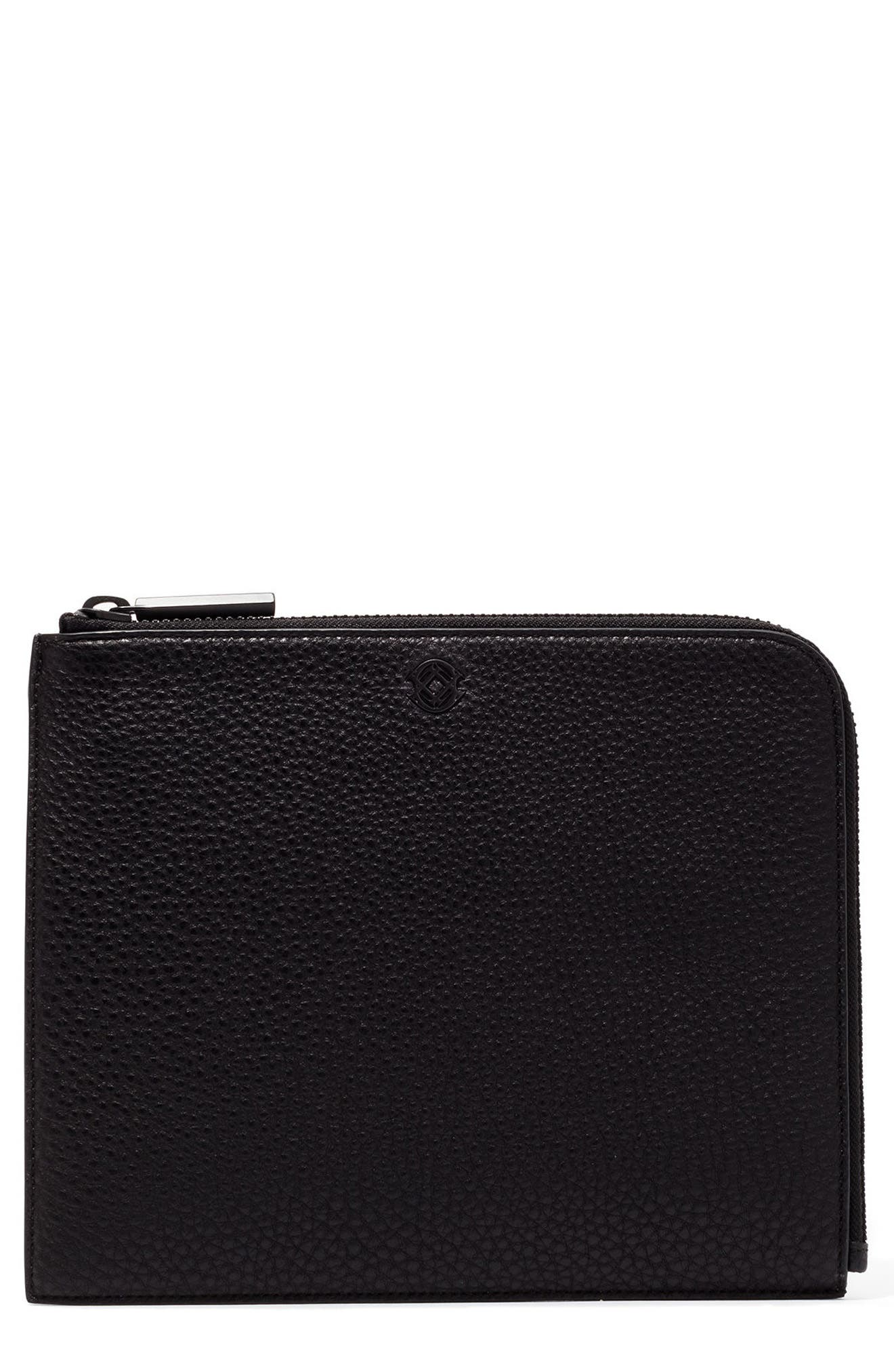Large Elle Leather Clutch,                         Main,                         color, BONE/ ONYX