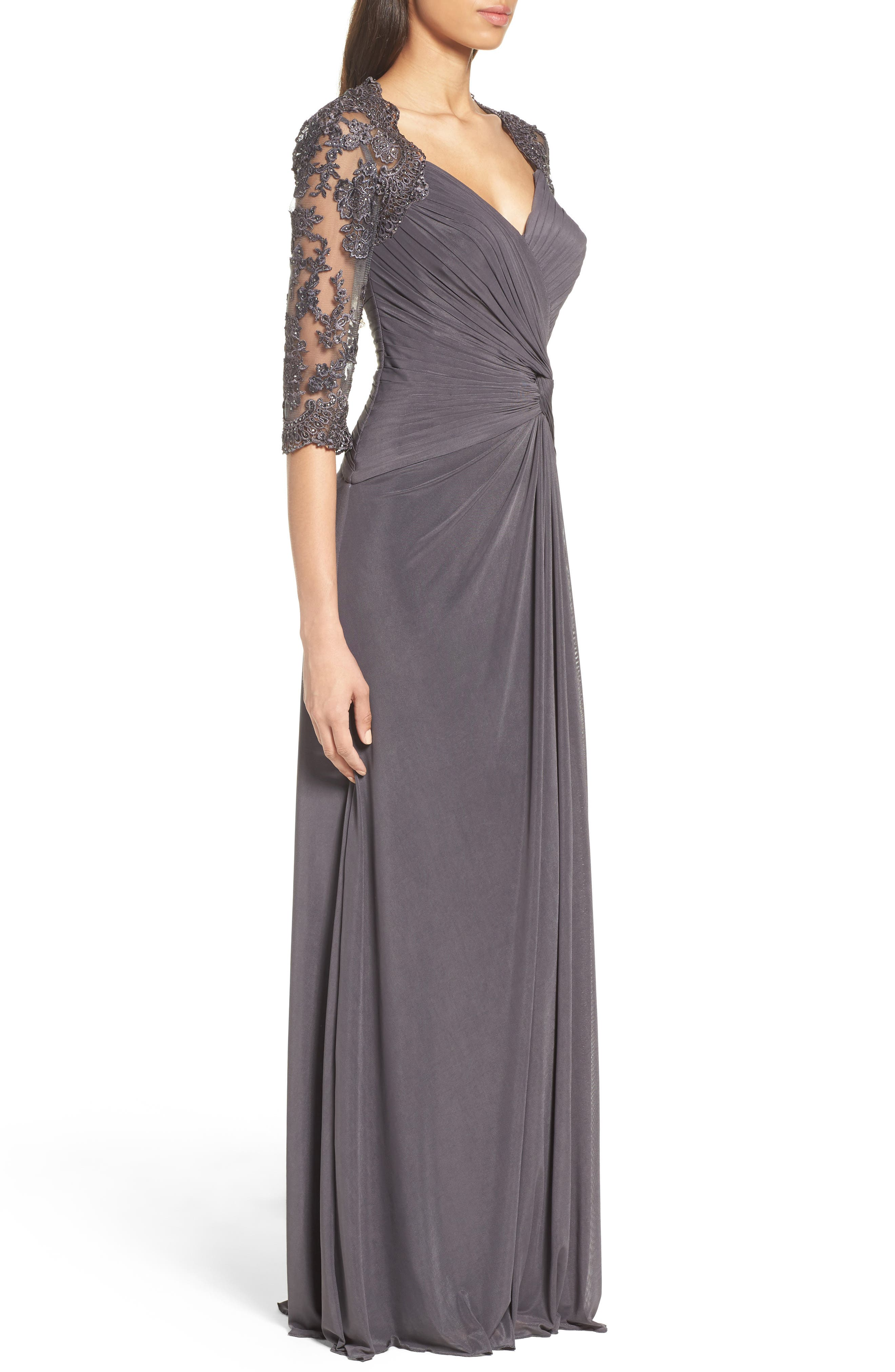 Lace & Net Ruched Twist Front Gown,                             Alternate thumbnail 3, color,                             GUNMETAL