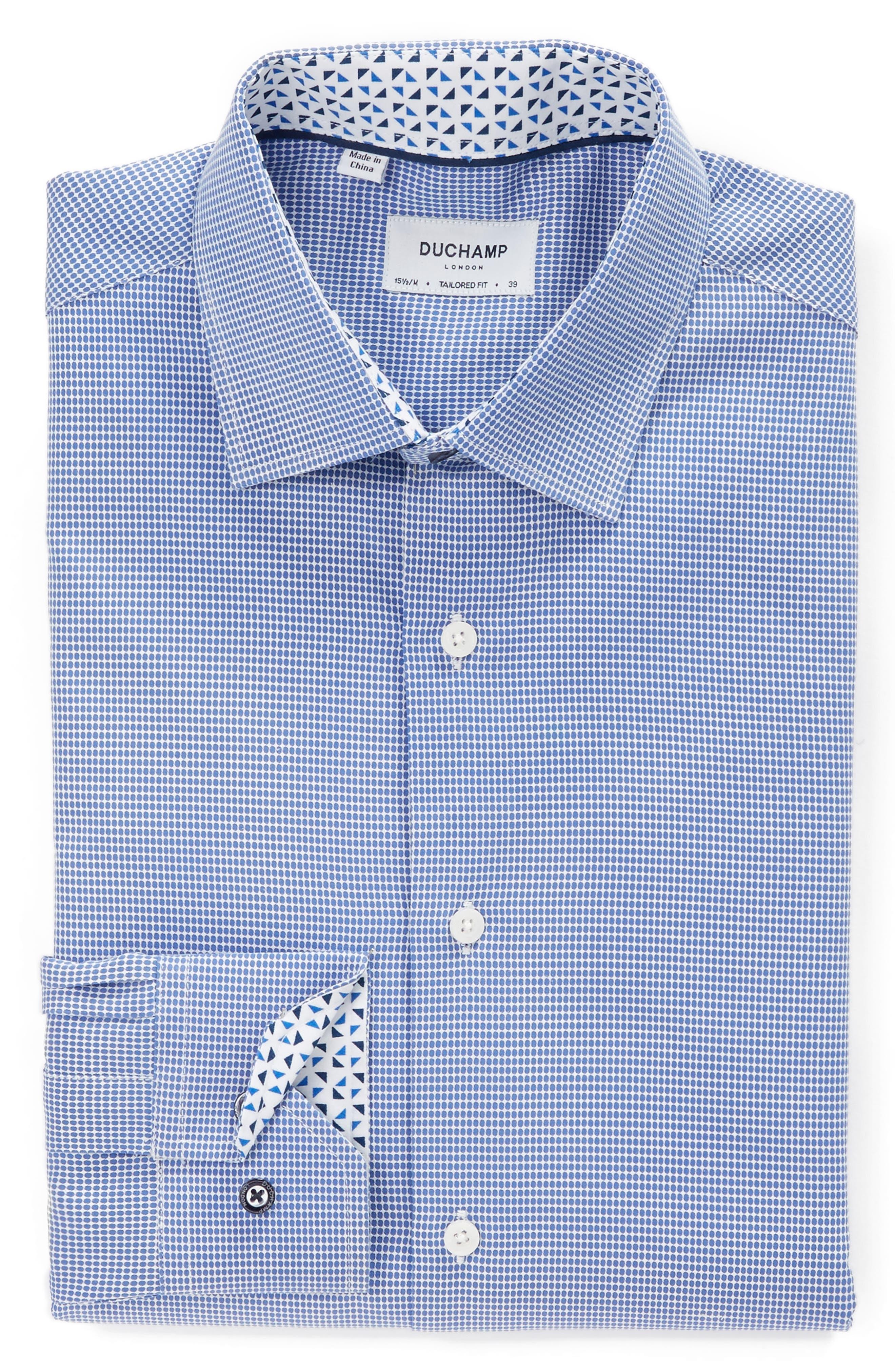 Trim Fit Dot Dress Shirt,                             Alternate thumbnail 3, color,                             BLUE