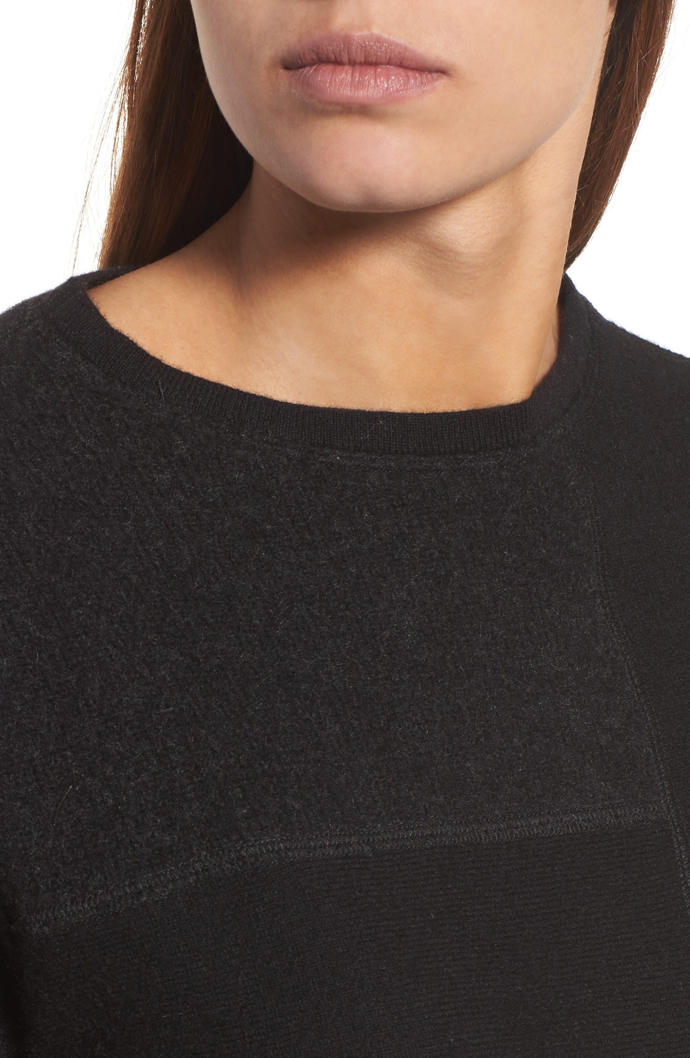 Colorblock Cashmere Sweater,                             Alternate thumbnail 4, color,                             001