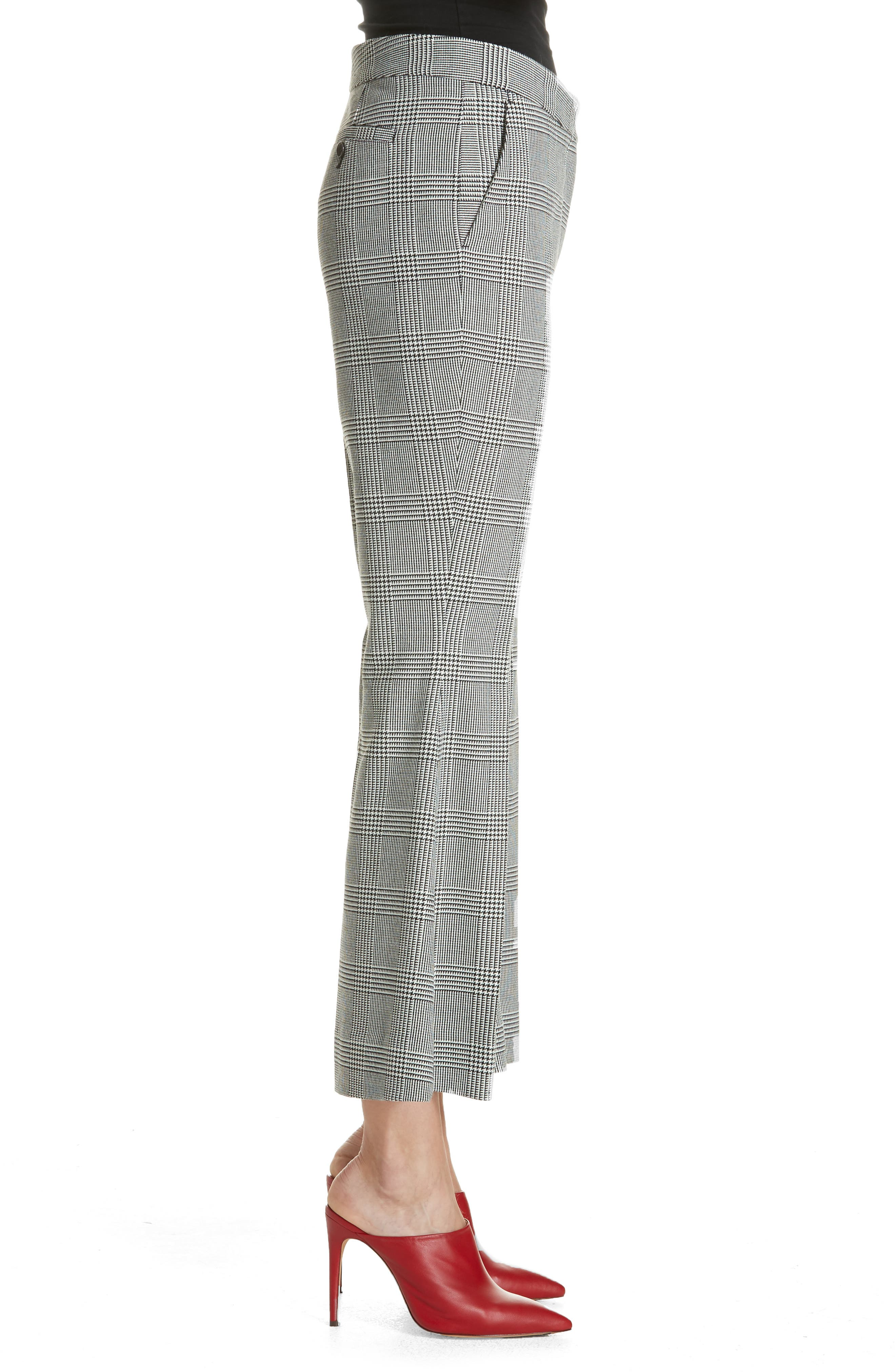 Checked Crop Flare Trousers,                             Alternate thumbnail 3, color,                             BLACK/ WHITE