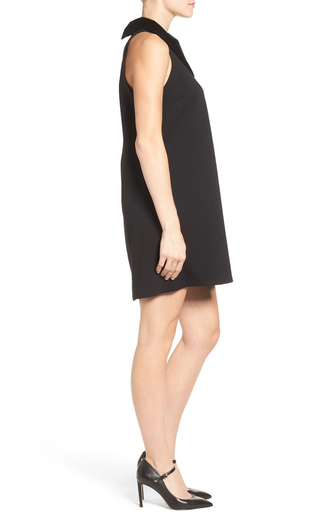 Faux Calf Hair Collar Dress,                             Alternate thumbnail 3, color,                             001