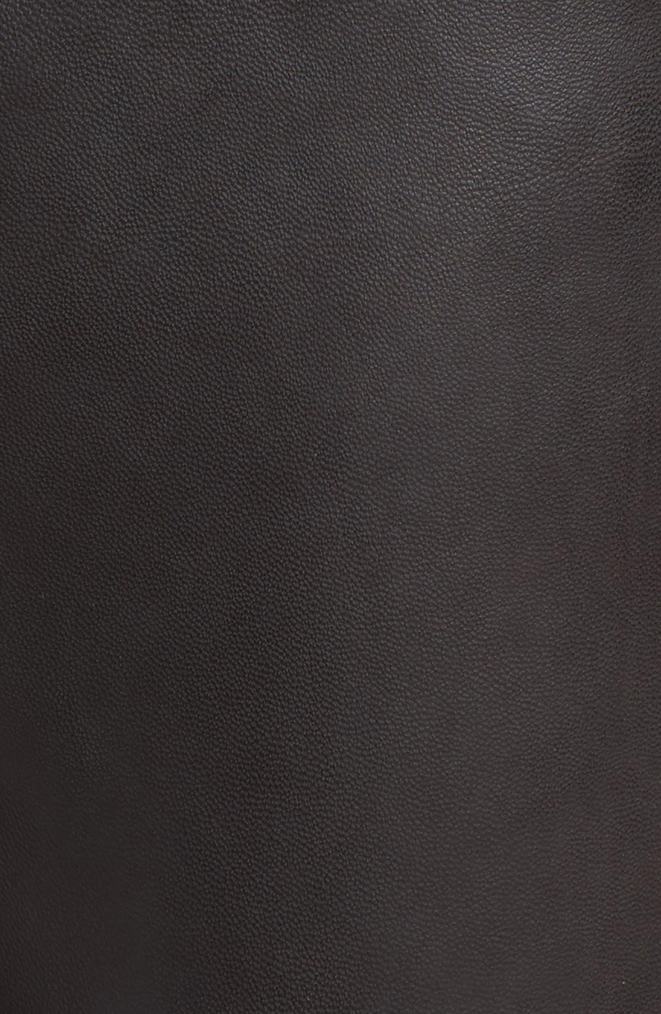 Crop Flare Leather Pants,                             Alternate thumbnail 5, color,                             001