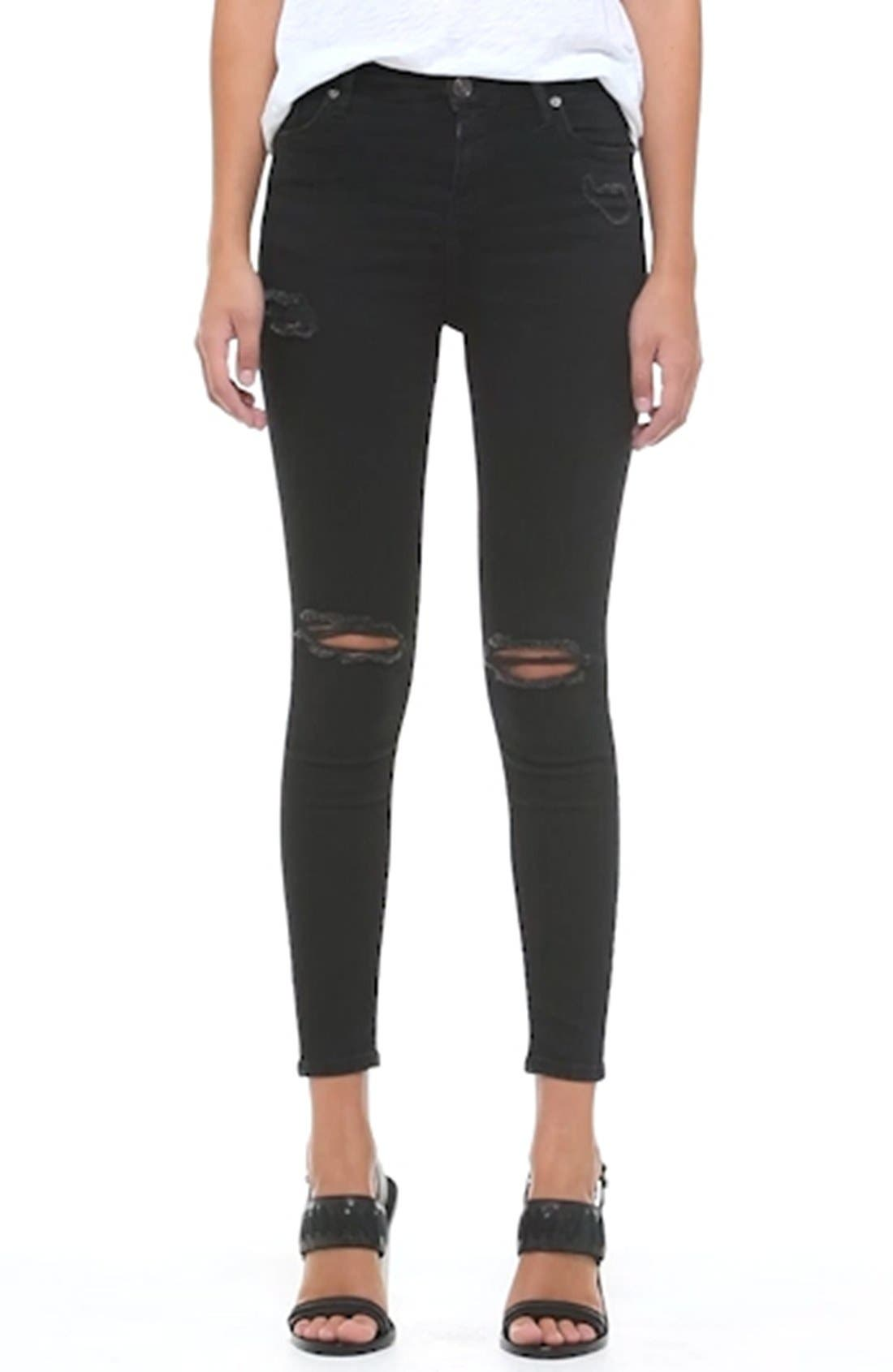 Moto 'Jamie' Ripped Skinny Jeans,                             Alternate thumbnail 4, color,                             001