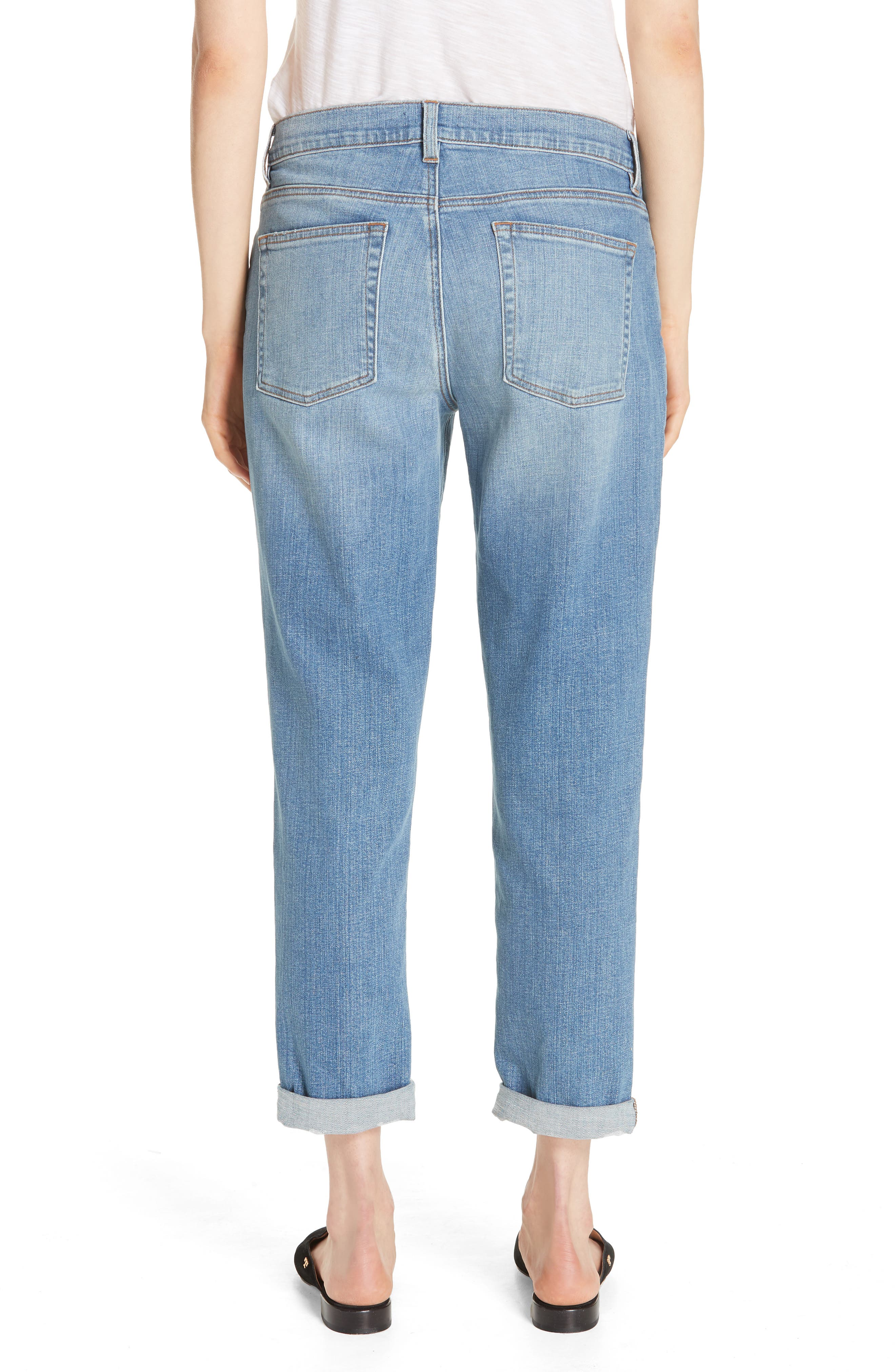 Stretch Organic Cotton Boyfriend Jeans,                             Alternate thumbnail 2, color,                             ABRADED SKY BLUE