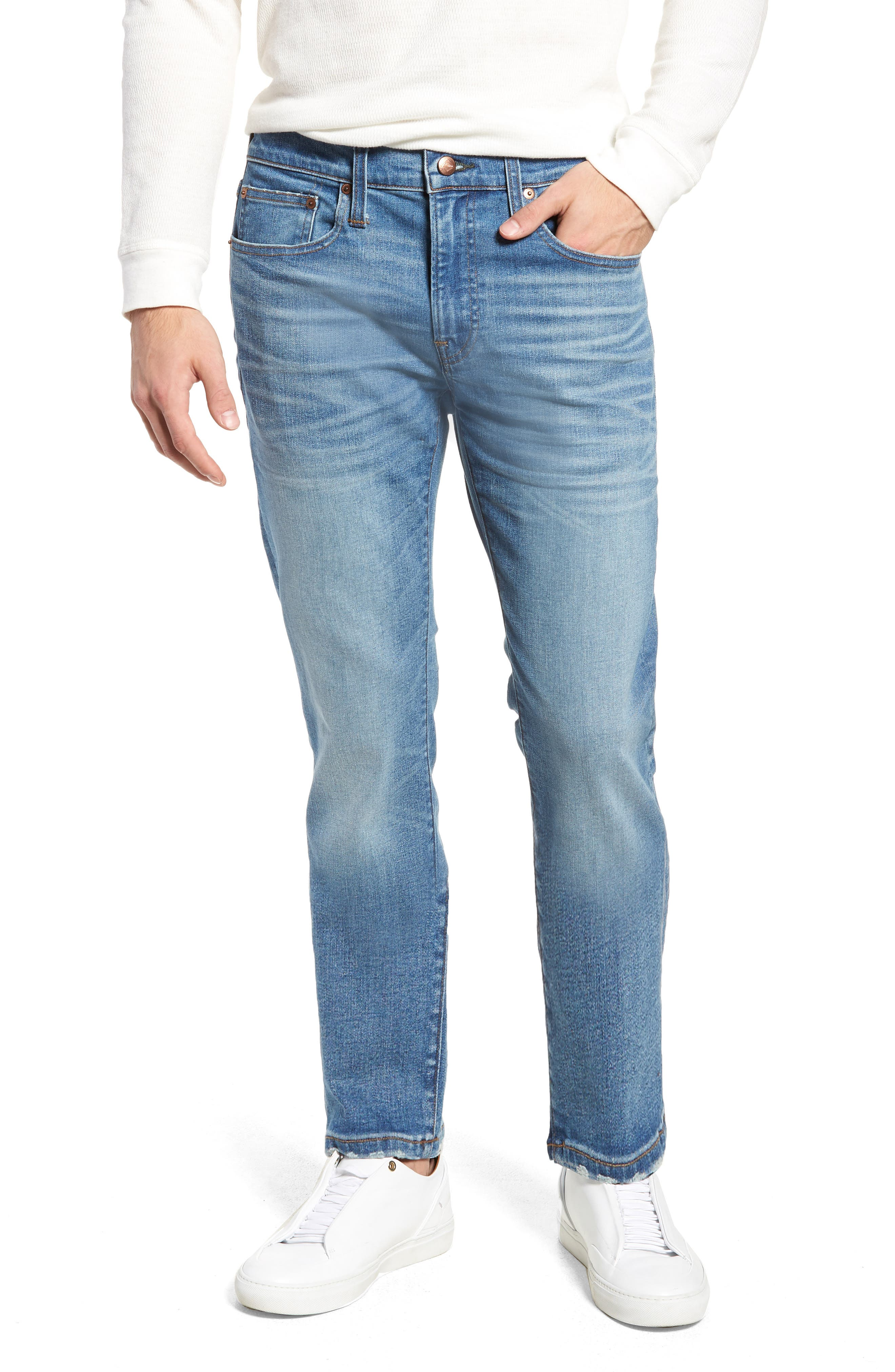 484 Slim Fit Distressed Stretch Jeans,                         Main,                         color, STOCKTON WASH