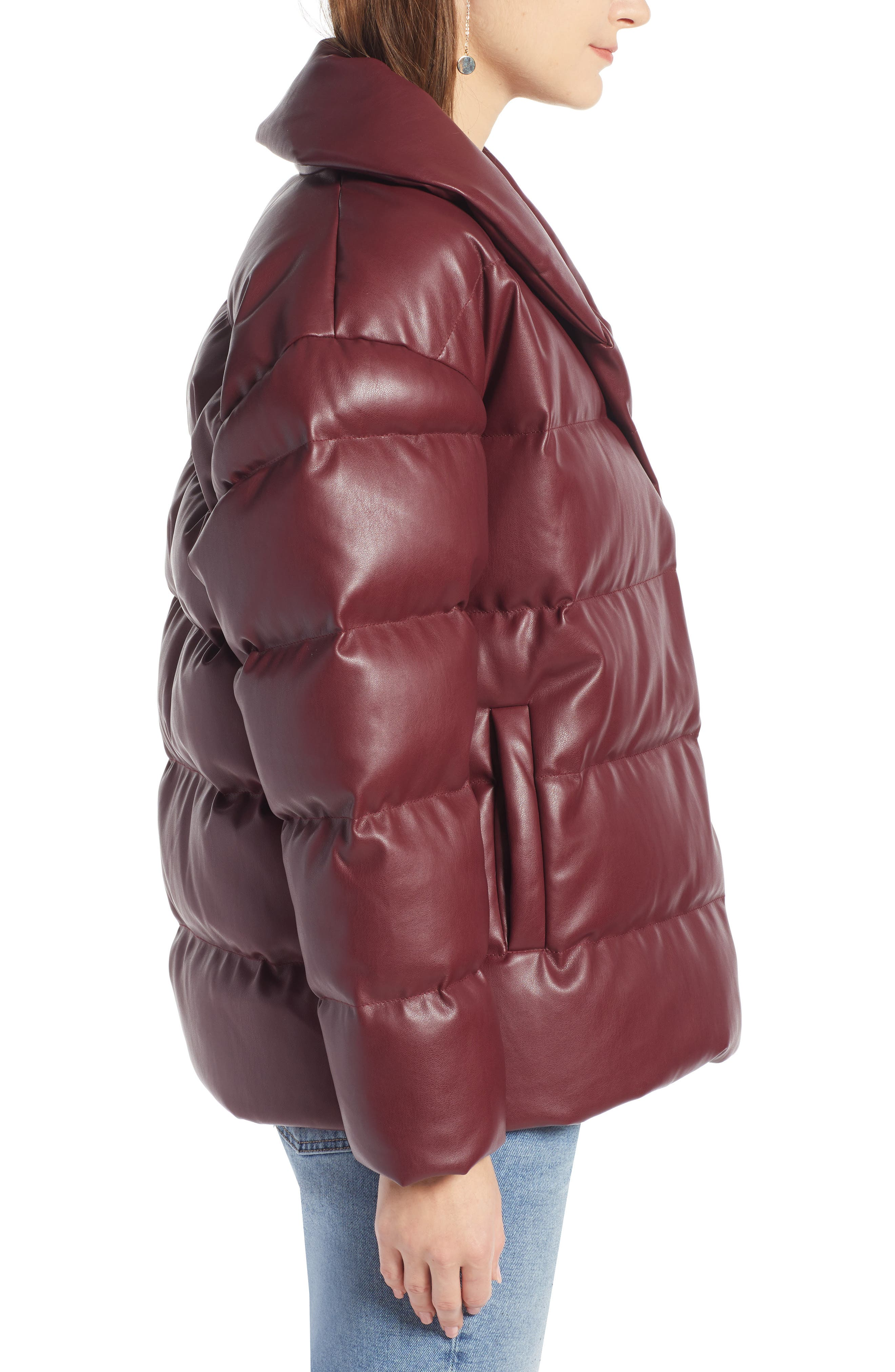 SOMETHING NAVY,                             Faux Leather Puffer Coat,                             Alternate thumbnail 3, color,                             601