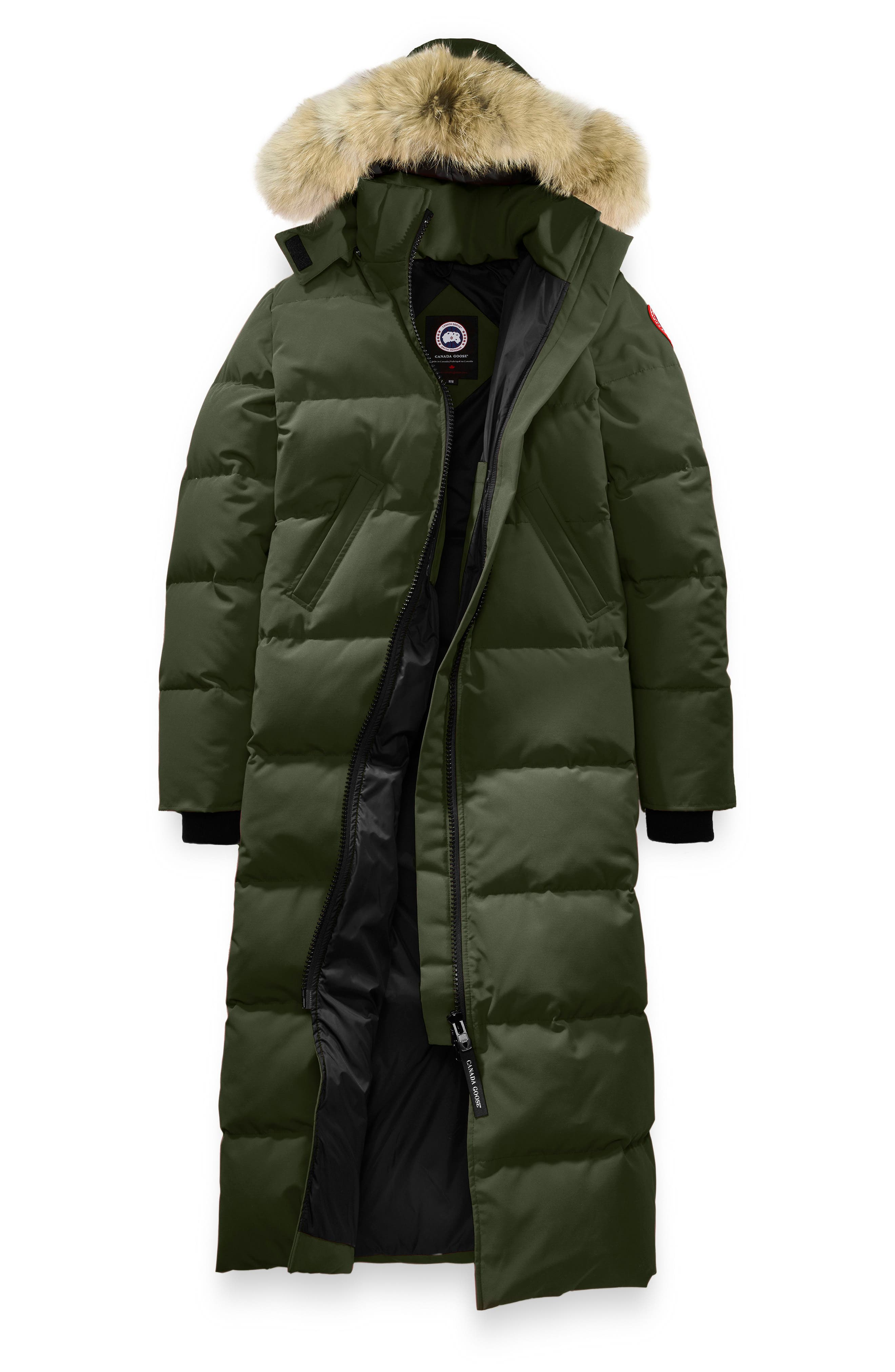 Mystique Regular Fit Down Parka with Genuine Coyote Fur Trim,                             Alternate thumbnail 4, color,                             MILITARY GREEN