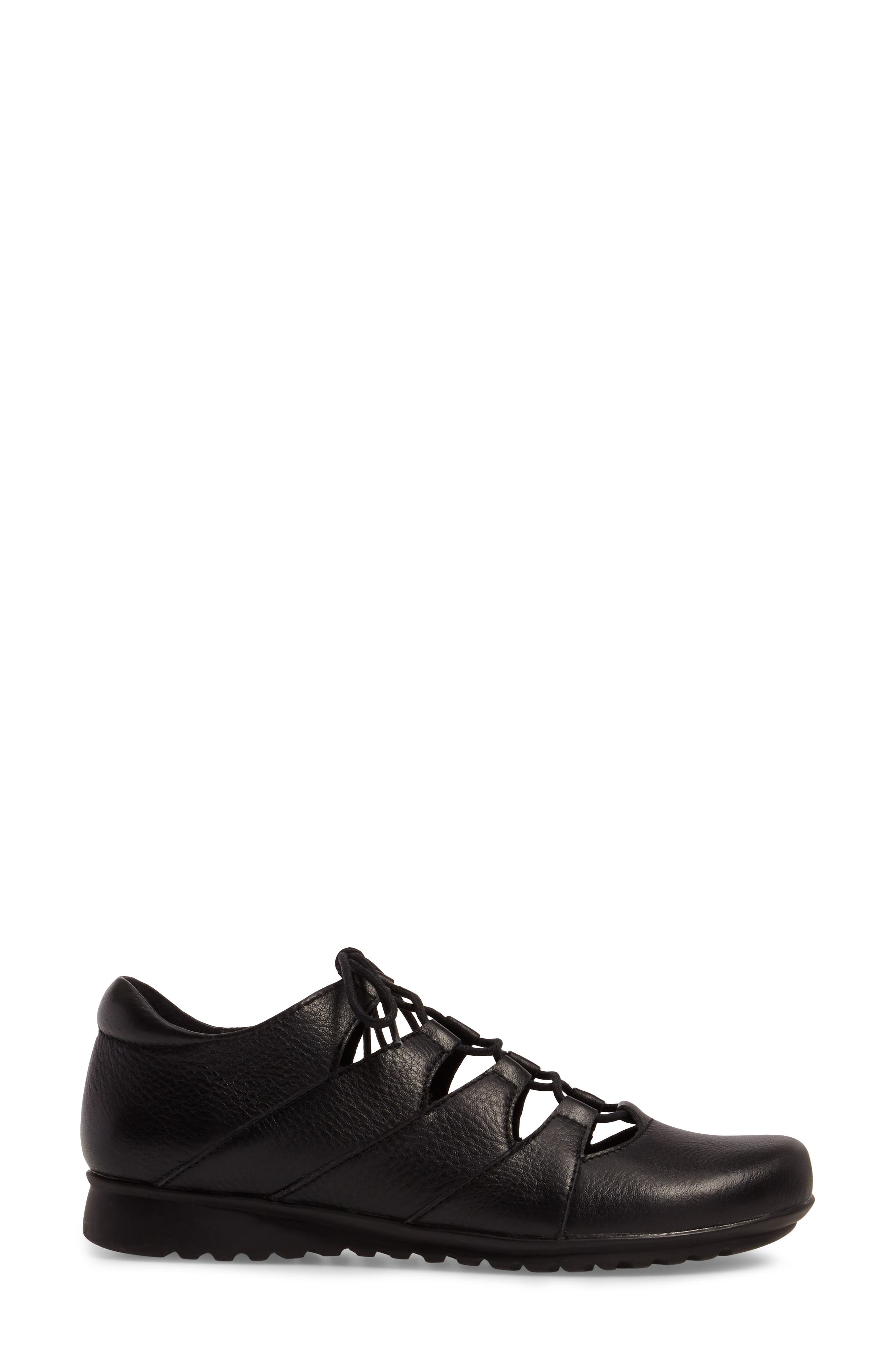 Sienna Cutout Sneaker,                             Alternate thumbnail 3, color,                             BLACK LEATHER/ BLACK