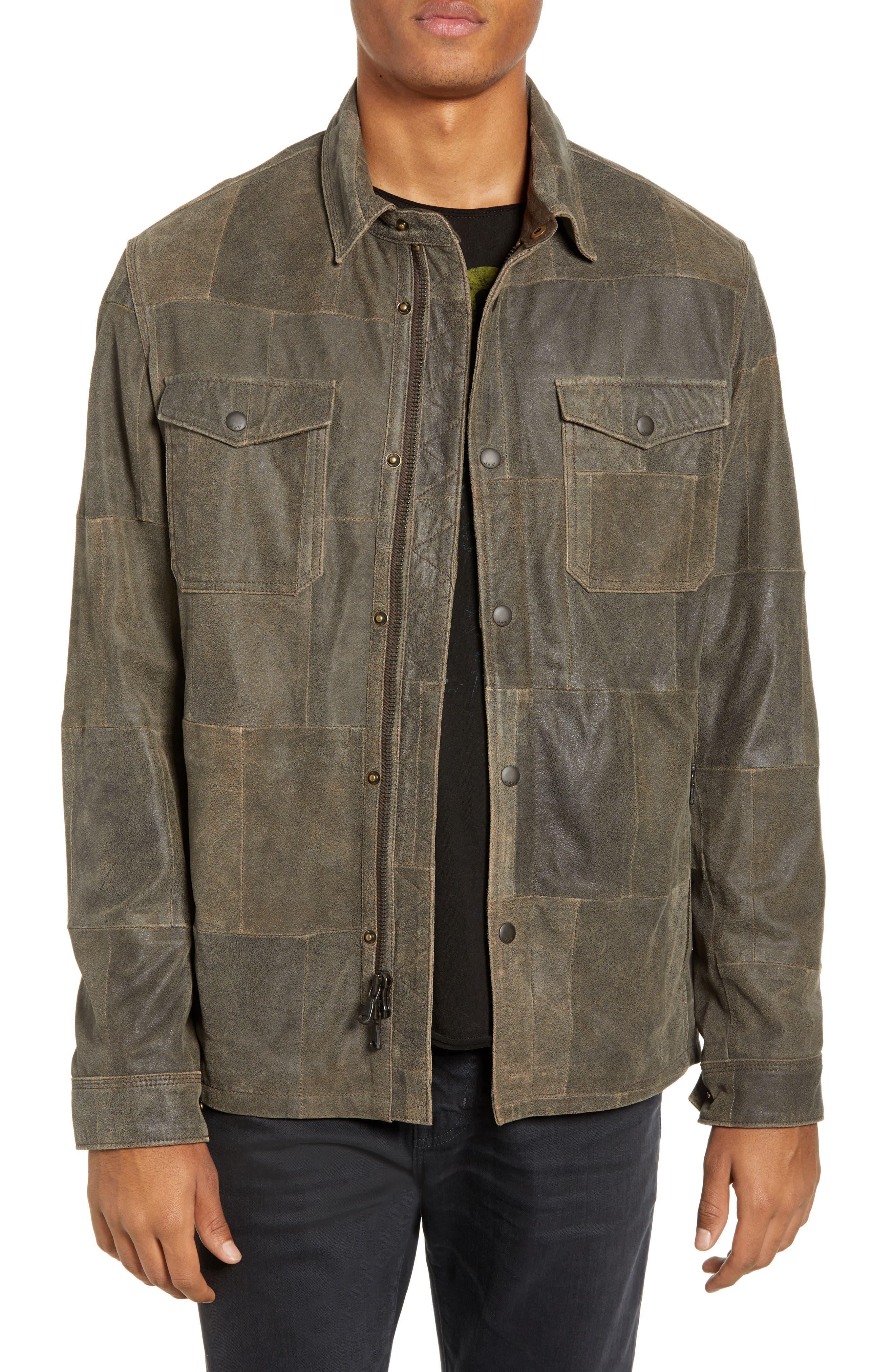 JOHN VARVATOS STAR USA Patchwork Goat Leather Jacket, Main, color, RYE