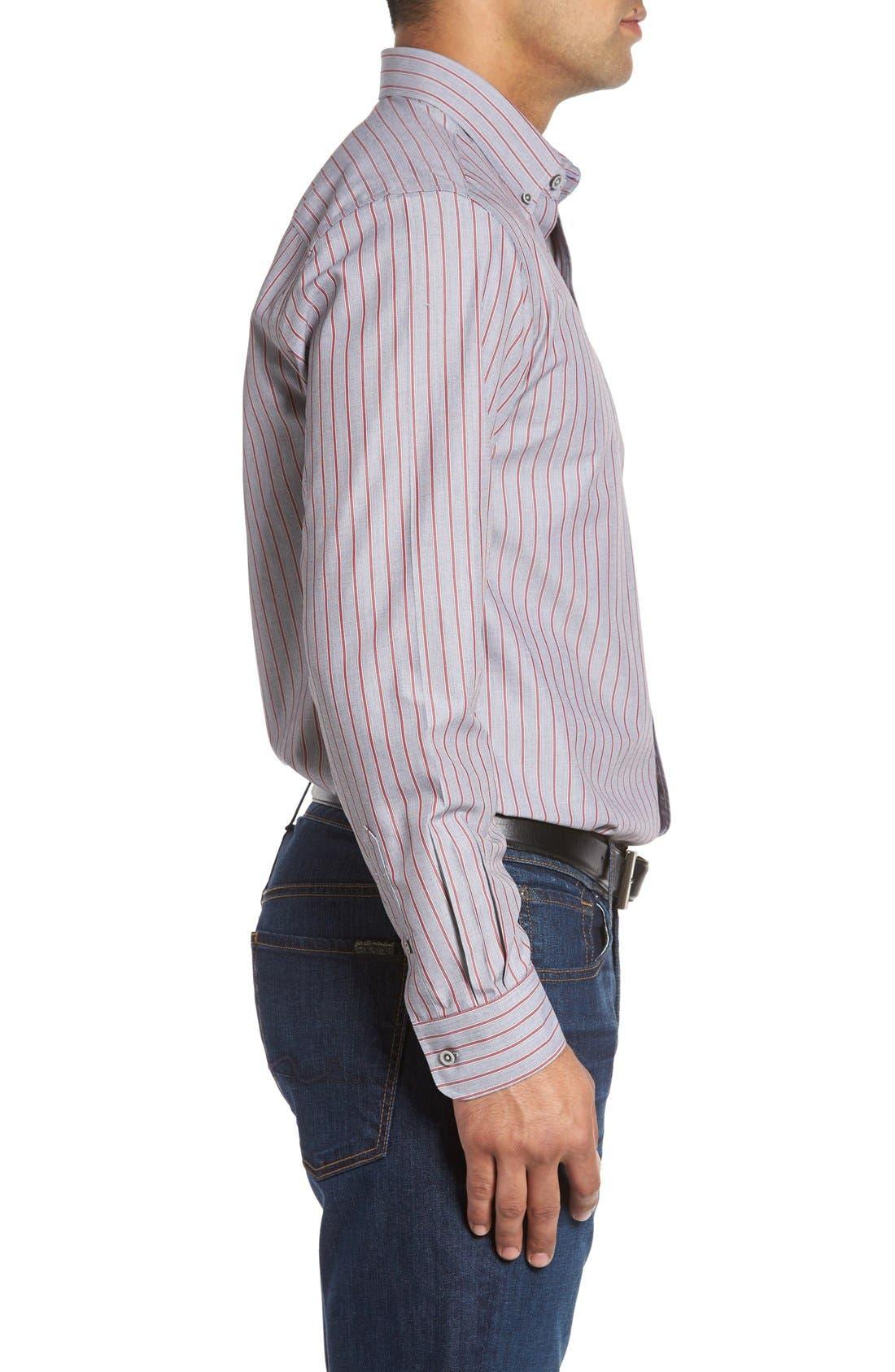 'Peak' Classic Fit Wrinkle Free Stripe Sport Shirt,                             Alternate thumbnail 4, color,                             020